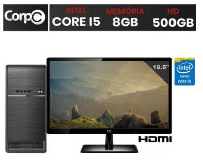 "Computador Intel Core i5 8GB HD 500GB Monitor LED 19.5"" HDMI"
