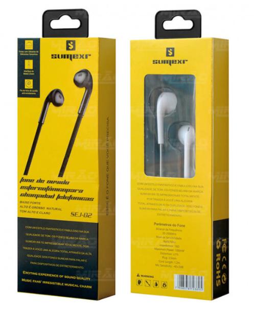 Fone de Ouvido Intra-Auricular com Fio Microfone e Botão para Atender Chamadas Sumexr - SEJ-B2