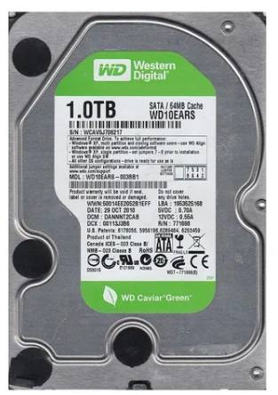 HD 1 TB Western Digital WD Caviar Green WD10EARS verde