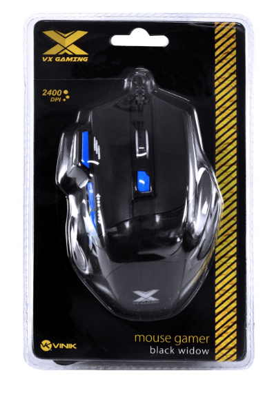 MOUSE GAMER VX GAMING BLACK WIDOW 2400 DPI AJUSTAVEL E 06 BOTÕES PRETO COM AZUL USB - GM104