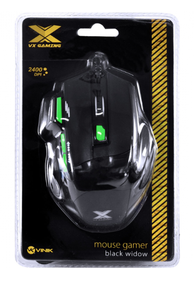 MOUSE GAMER VX GAMING BLACK WIDOW 2400 DPI AJUSTAVEL E 06 BOTÕES PRETO COM VERDE USB - GM106