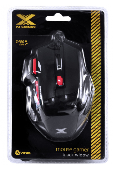 MOUSE GAMER VX GAMING BLACK WIDOW 2400 DPI AJUSTAVEL E 06 BOTOES PRETO COM VERMELHO USB - GM102