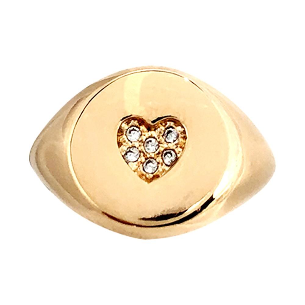 Anel dedinho coração regulável banhado a ouro 18k e ródio branco