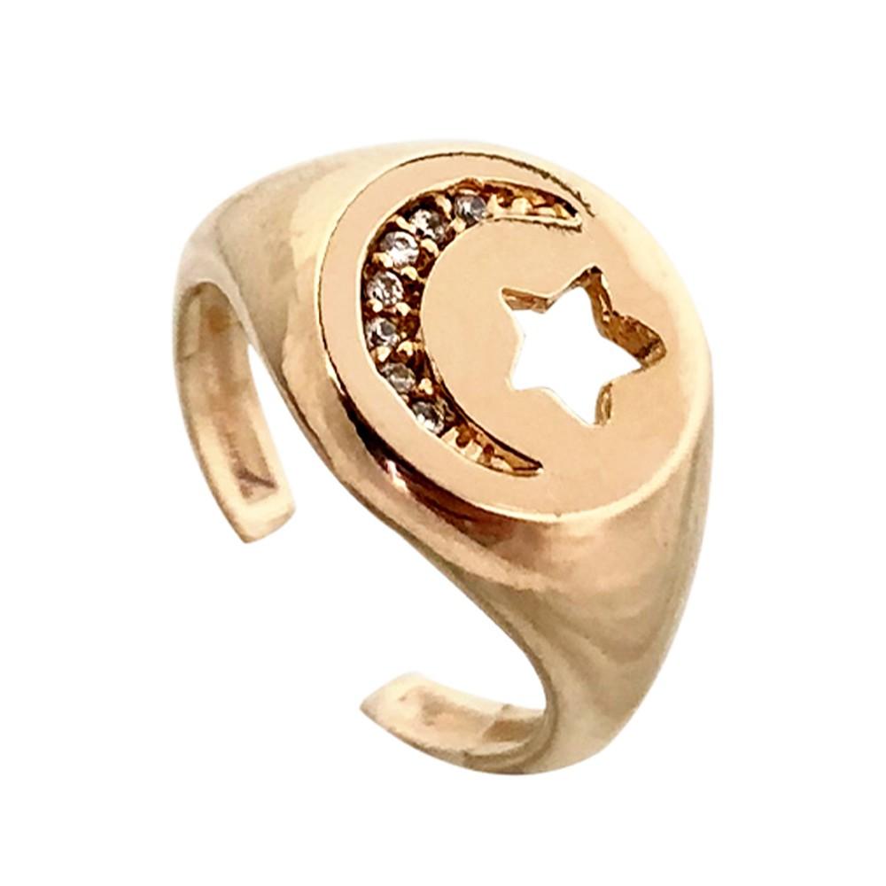 Anel dedinho Estrela regulável banhado a ouro 18ke ródio branco