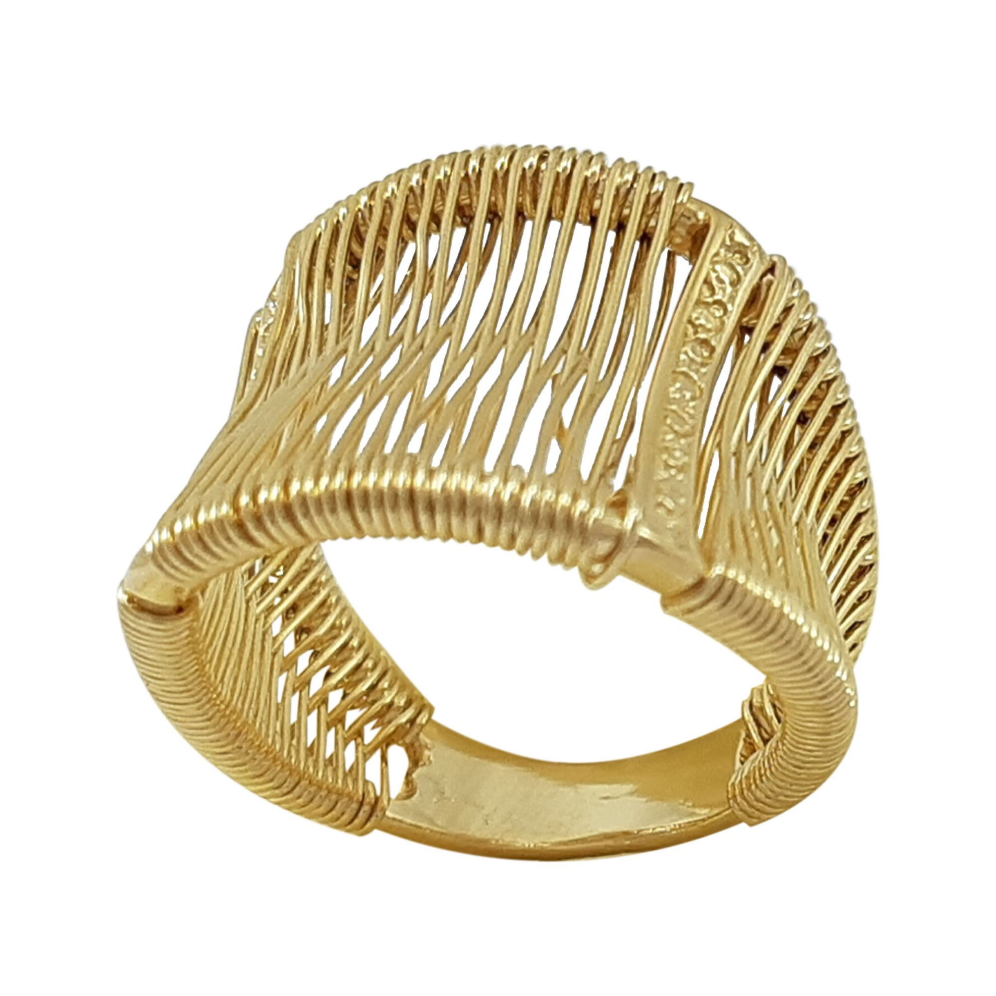 Anel fios banhado a ouro 18k