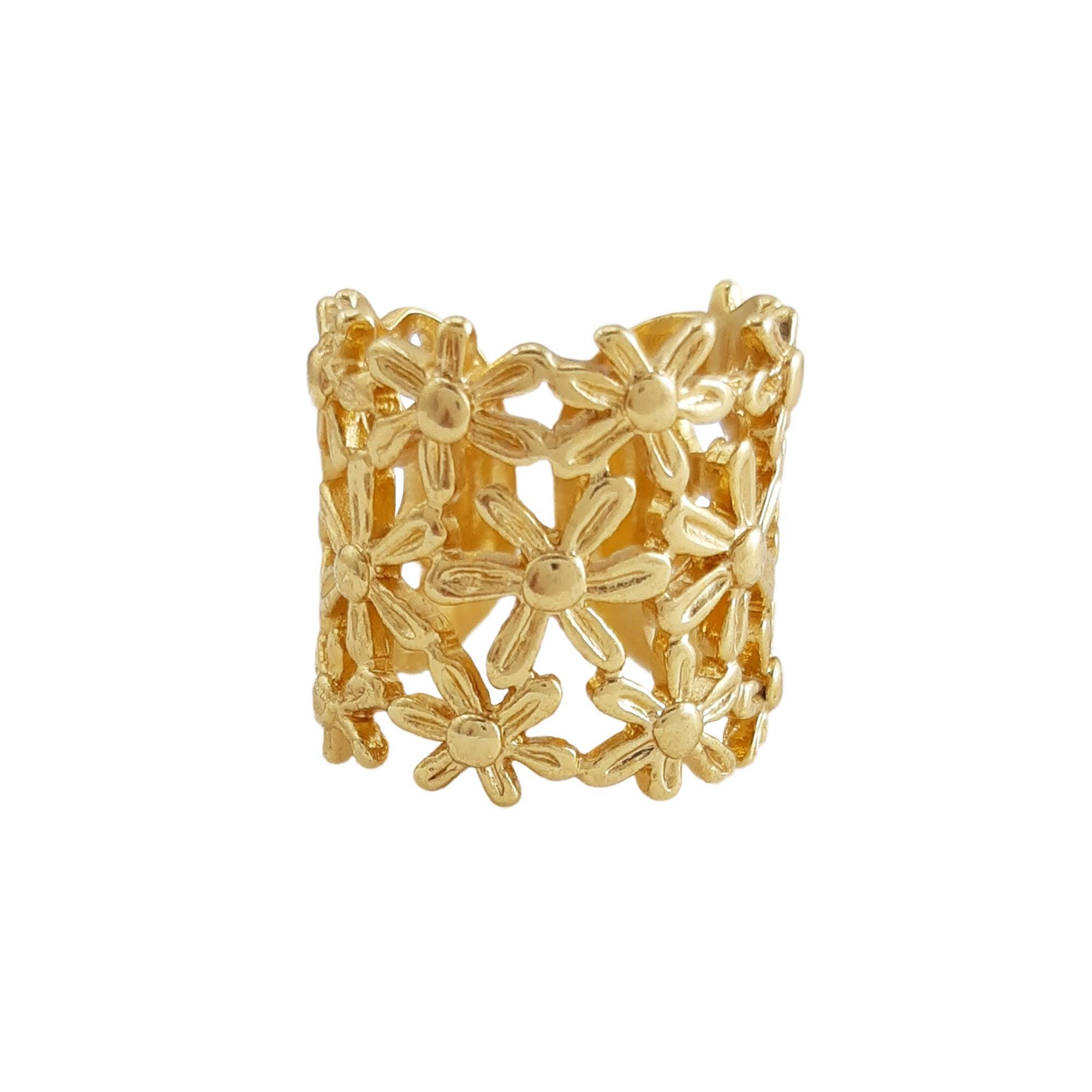 Anel Flores regulável  banhado a ouro 18k