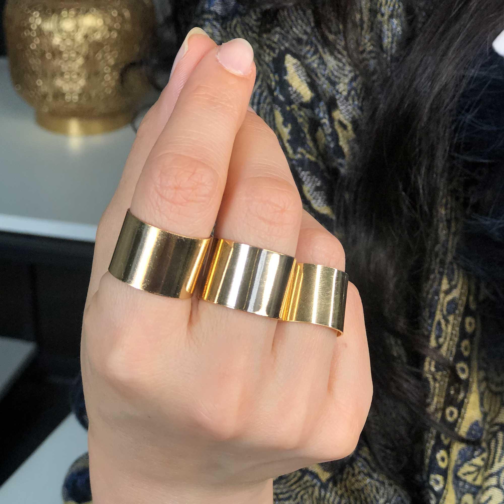 Anel Liso regulável banhado a ouro 18k e prata