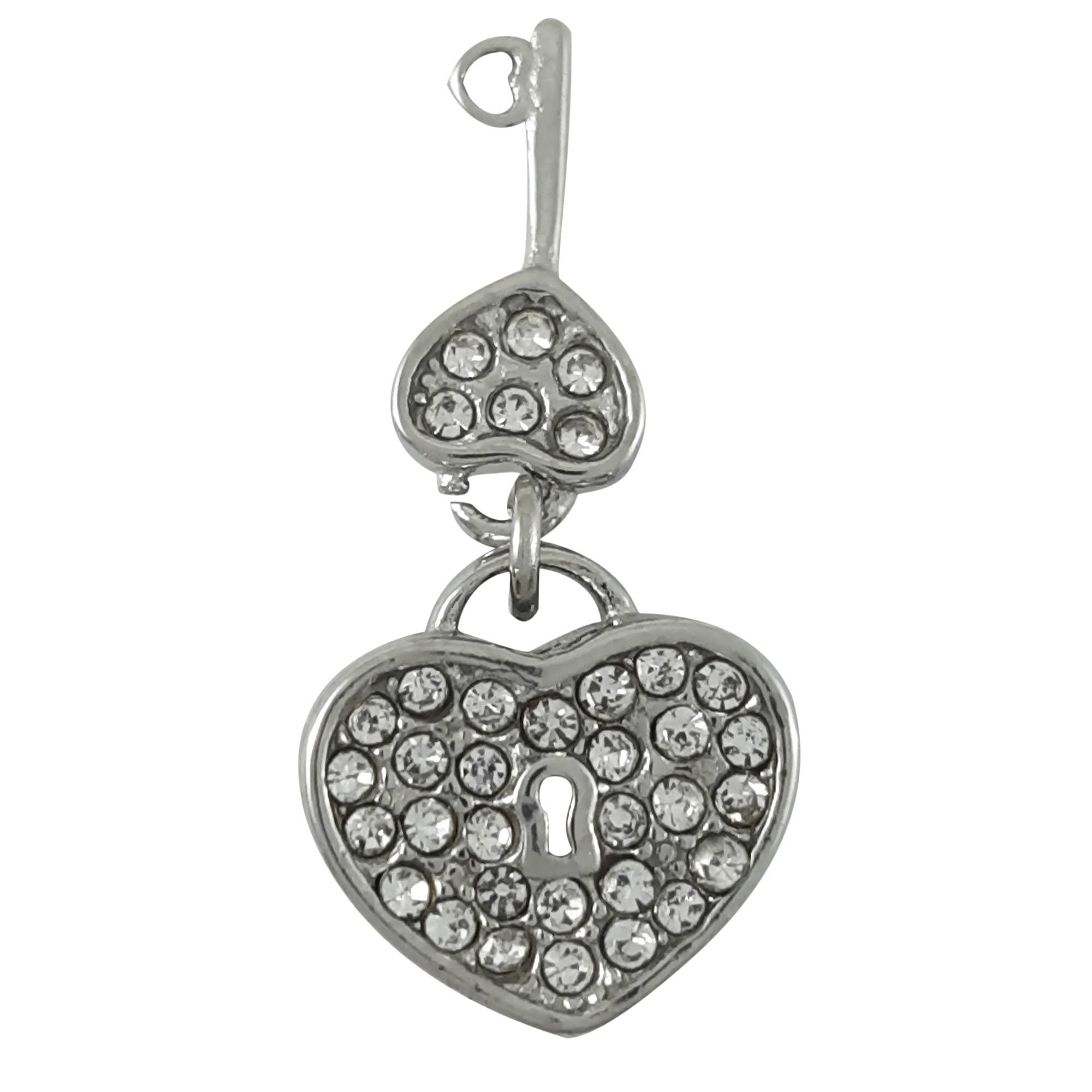 Berloque Cadeado de coração com chave Cravejada em aço