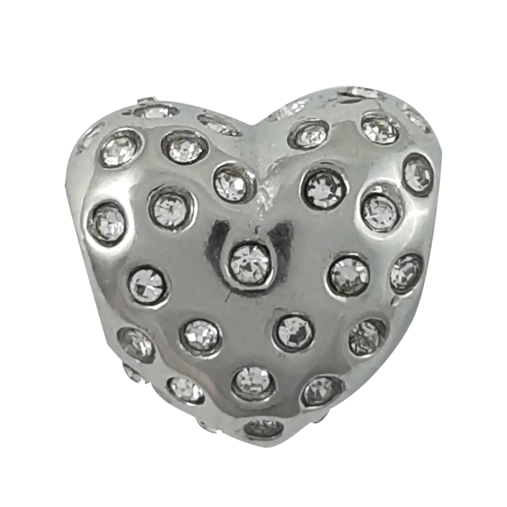 Berloque coração arredondado cravejado em aço