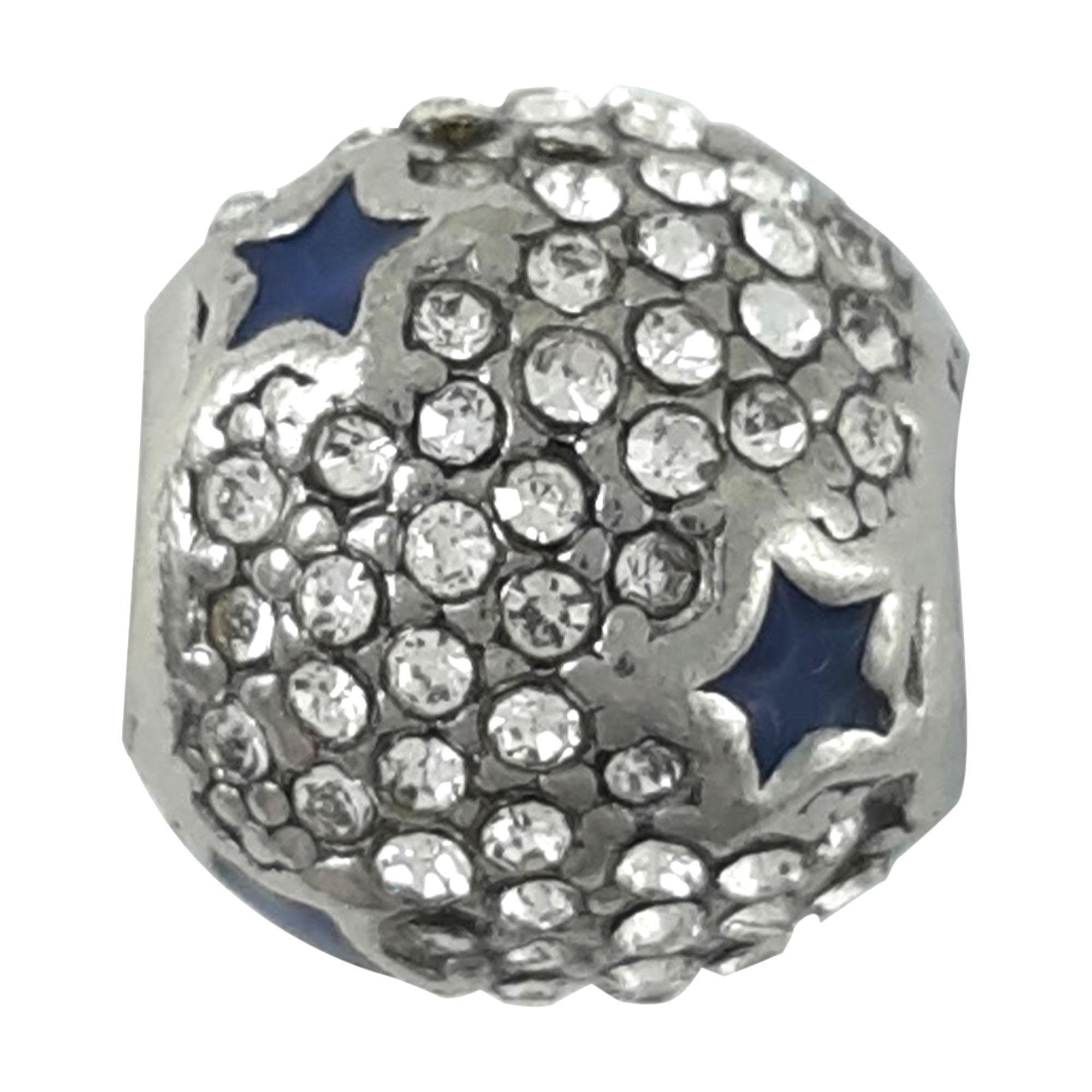 Berloque esfera com estrela cravejada em aço