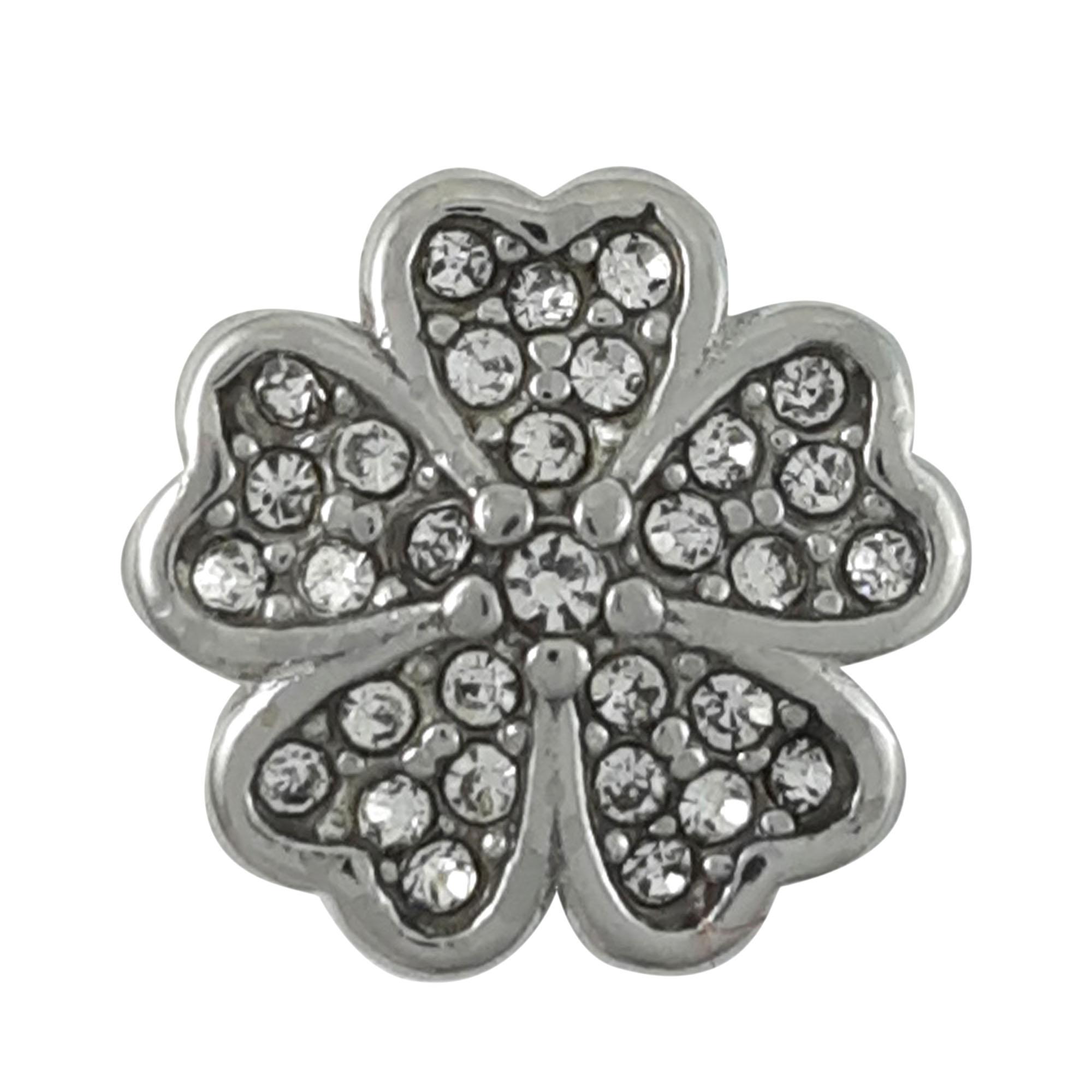 Berloque flor cravejada em aço