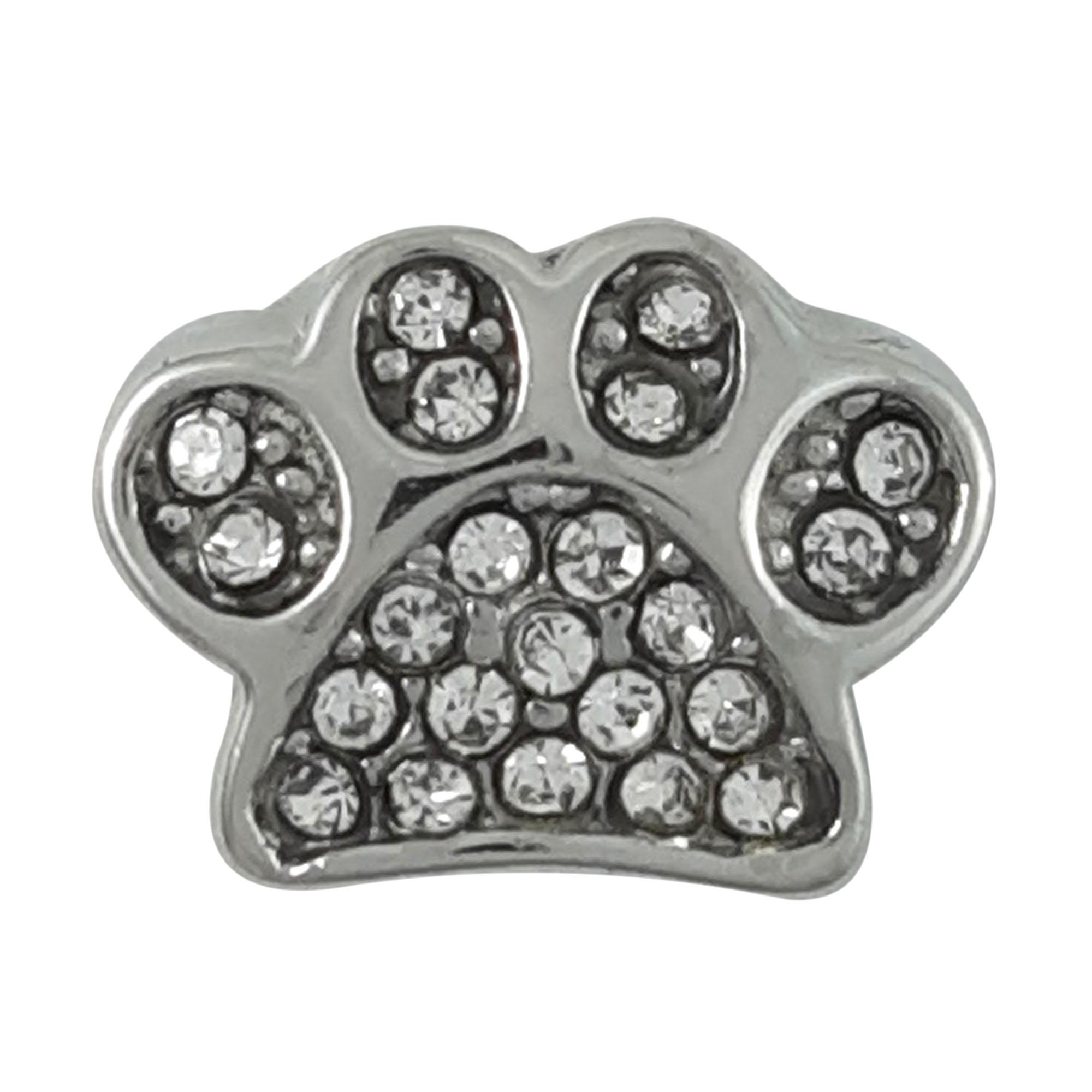 Berloque patinha de cachorro Cravejada em aço