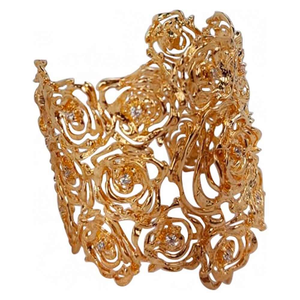 Bracelete de flor com zircônia banhado a ouro 18k