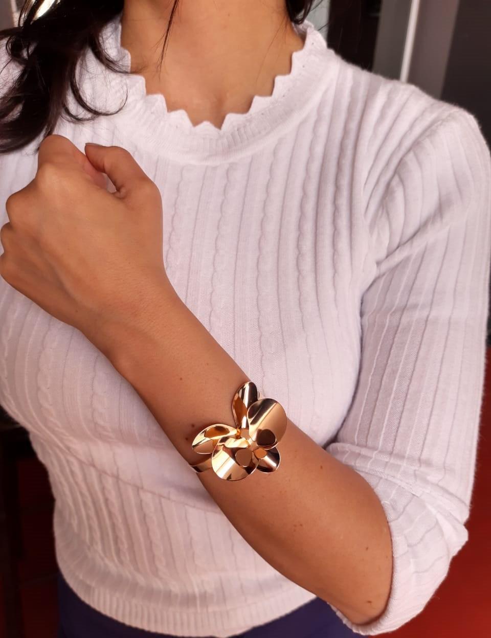 Bracelete de flor orquídea banhado a ouro-18k