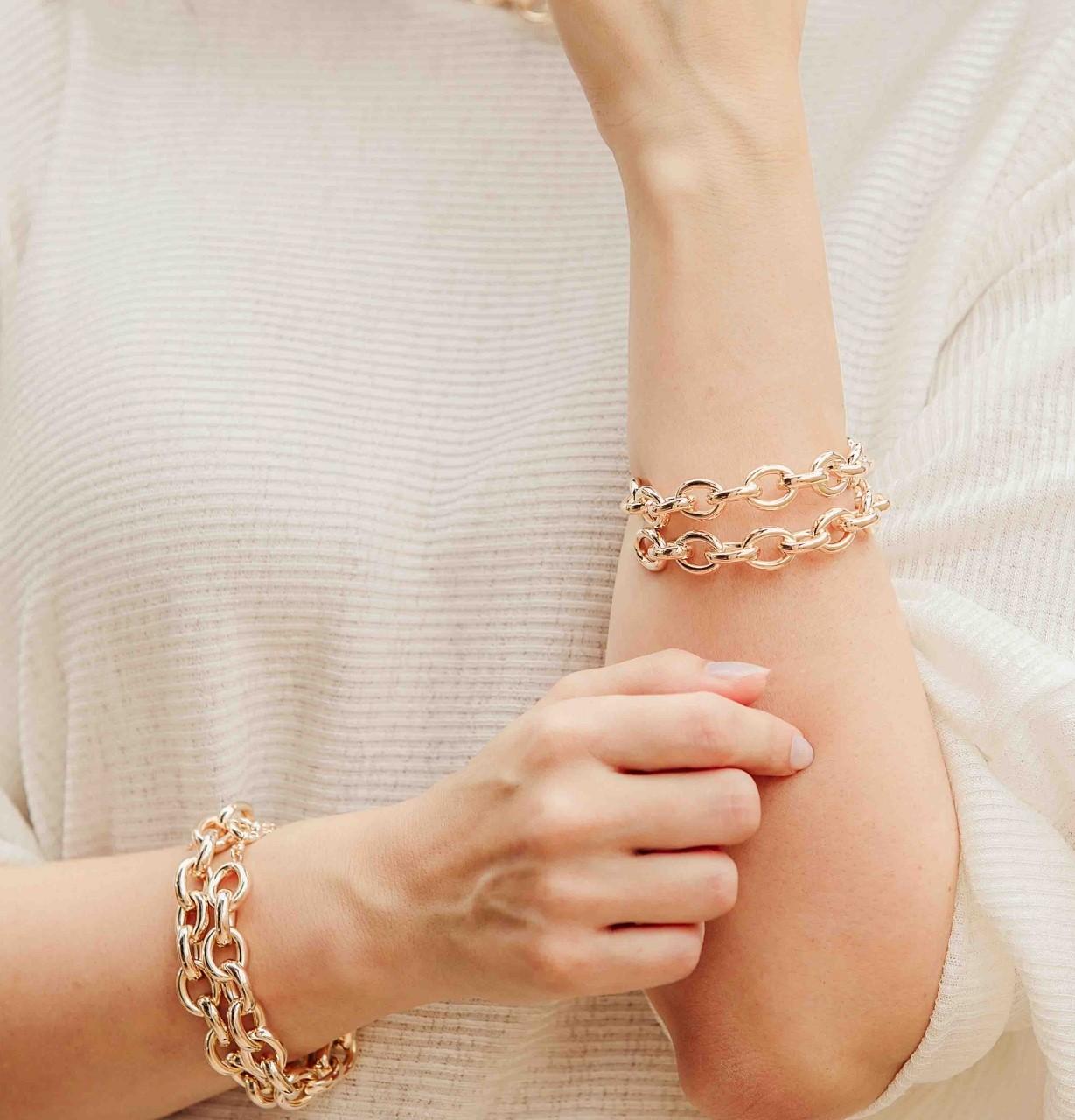 Bracelete tubo banhado a ouro 18k e ródio branco