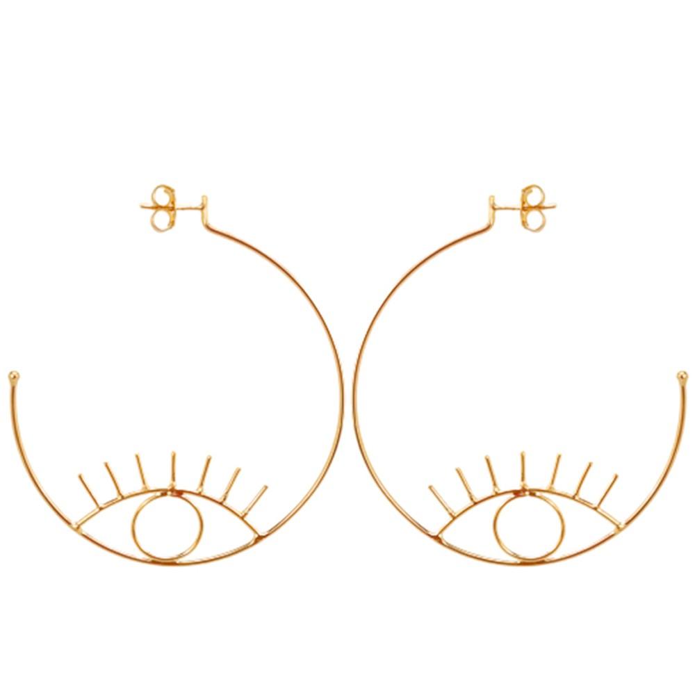 Brinco argola olho grego banhado a ouro 18k