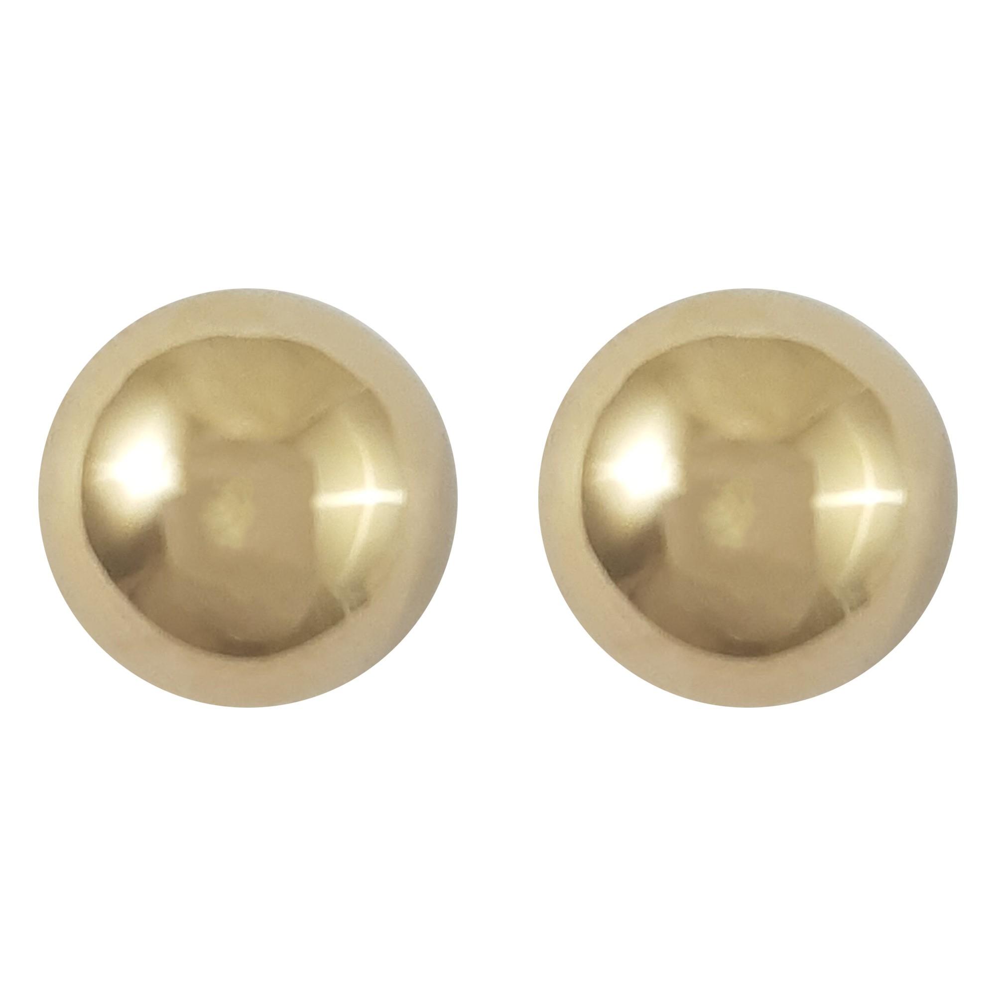 Brinco bola banhado a ouro 18k e ródio branco