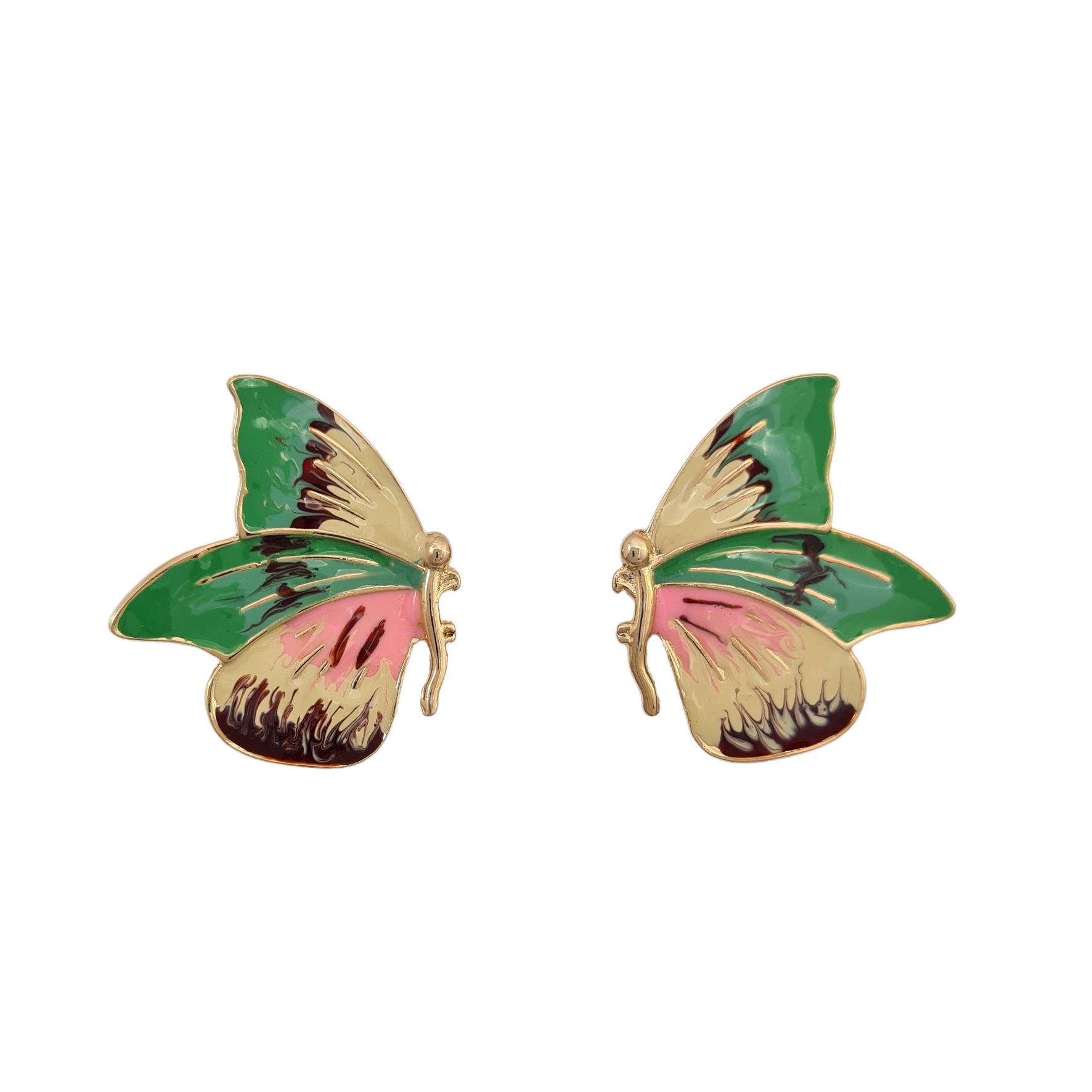Brinco borboleta esmaltada colorida banhado a ouro 18k