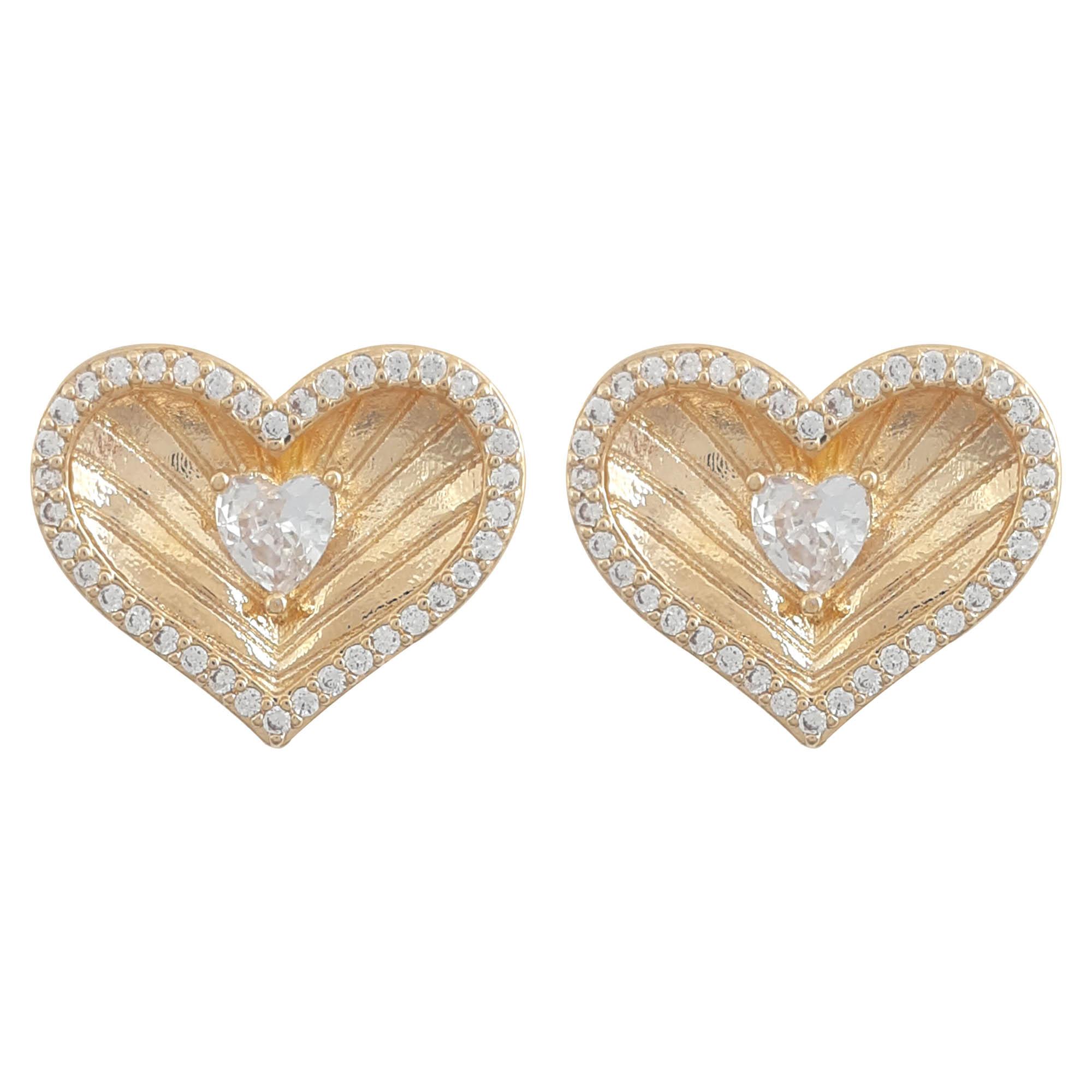 Brinco coração alta joalheria banho a ouro 18k e ródio branco