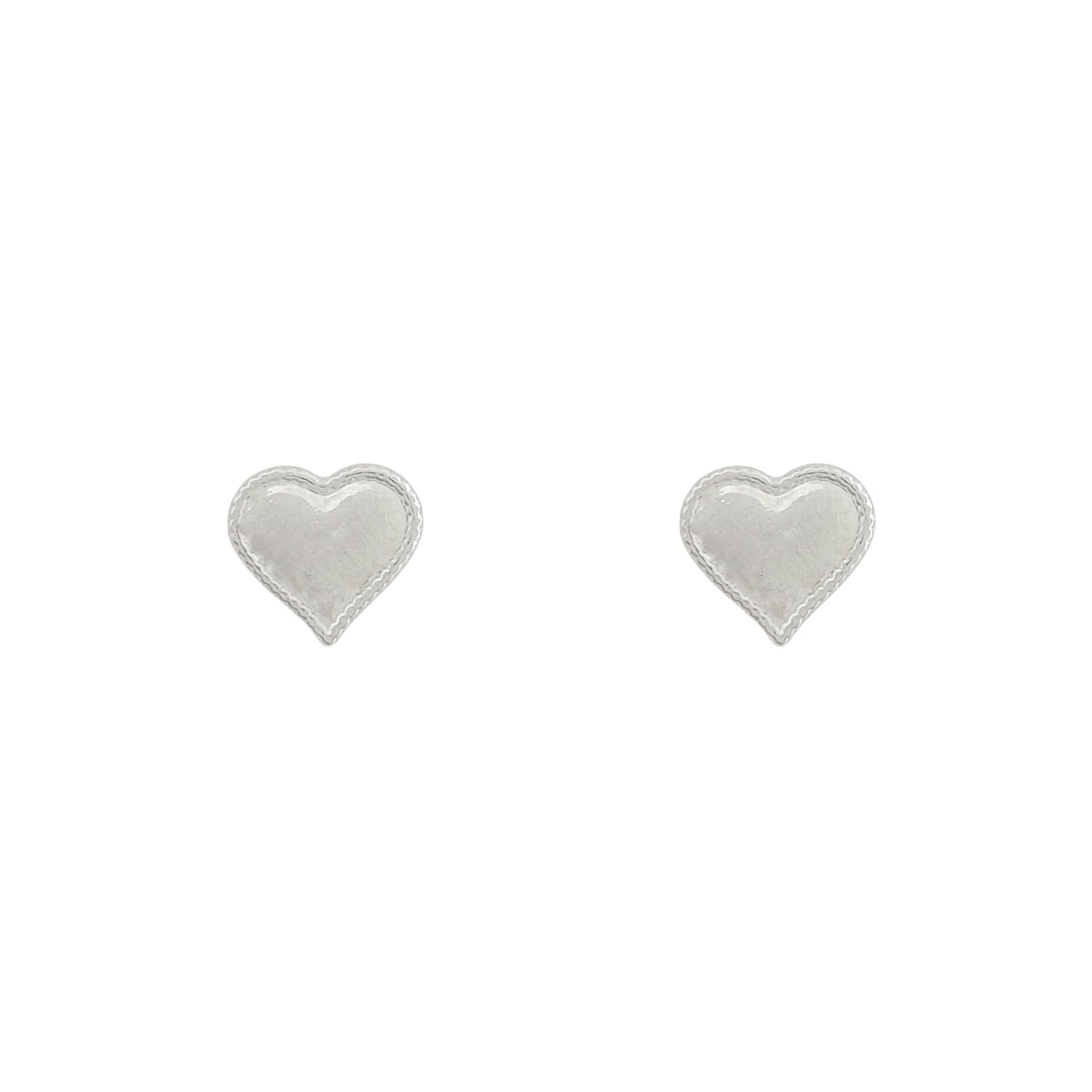Brinco coração banhado a ouro 18k e ródio branco