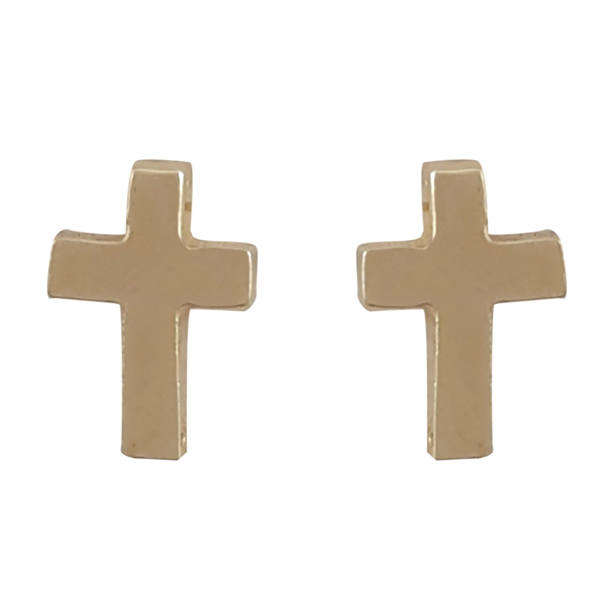 Brinco cruz pequena banhado a ouro 18k e Ródio branco