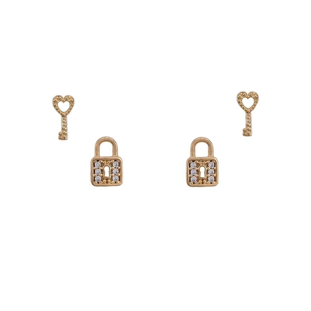 Brinco dupla cadeado e chave cravejado banho de ouro 18k