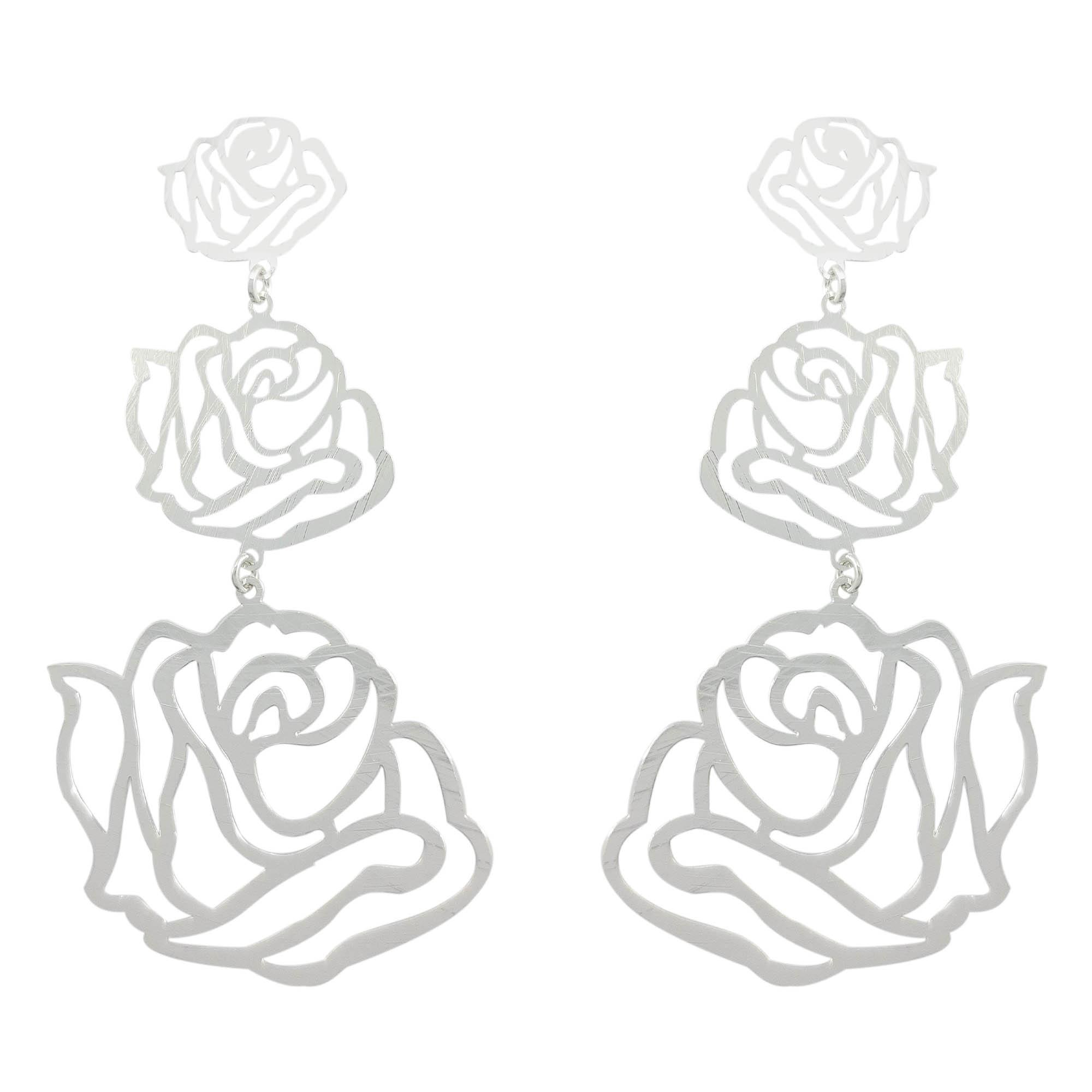 Brinco rosas banhado a prata