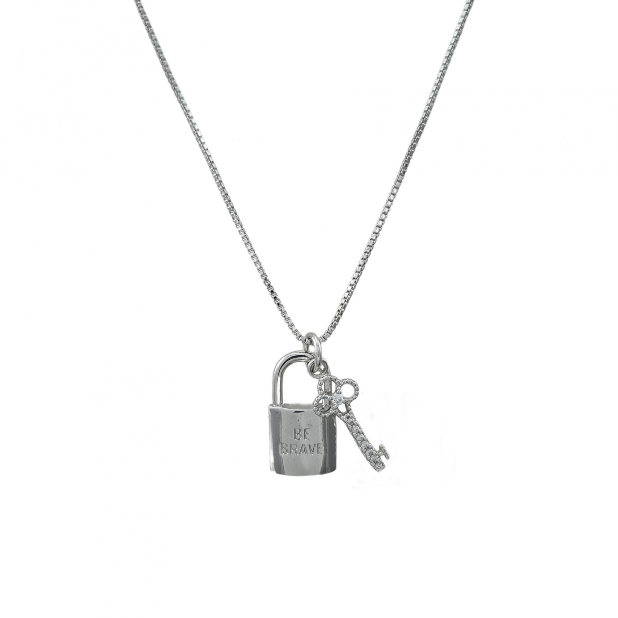 Colar Be Brave chave e cadeado banhado a ouro 18k e ródio branco