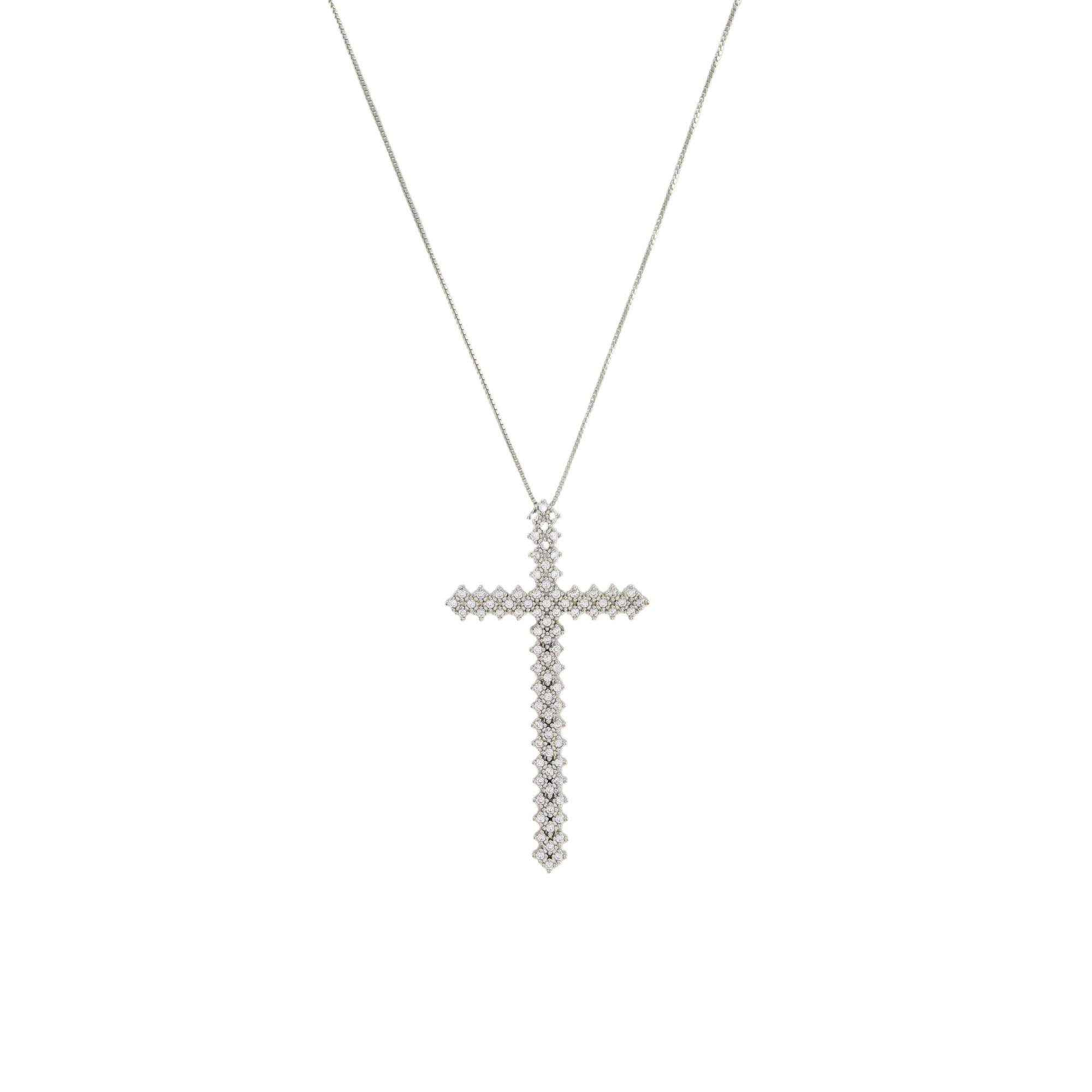 Colar cruz cravejada banhado a prata