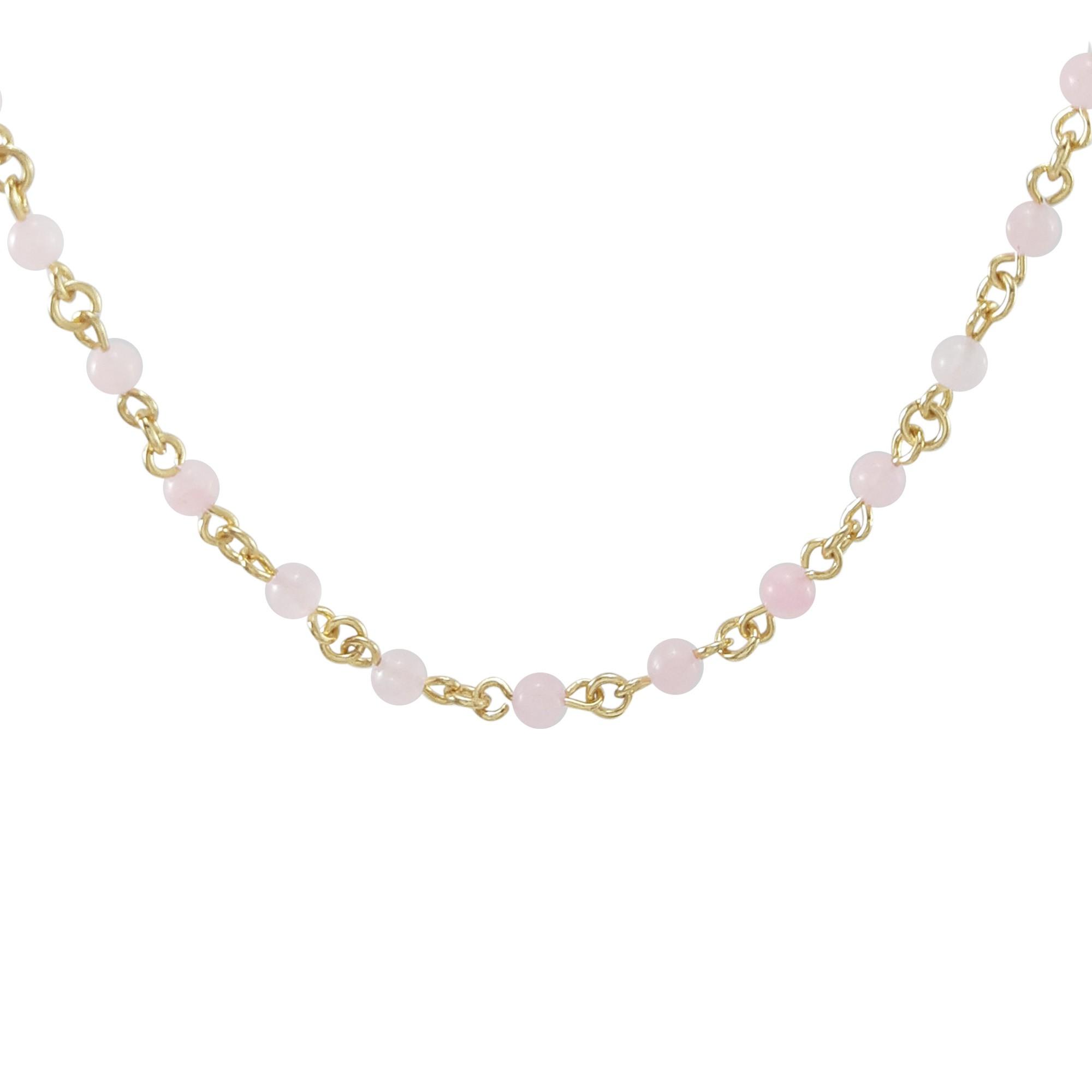 Colar de quartzo rosa banhado a ouro 18k