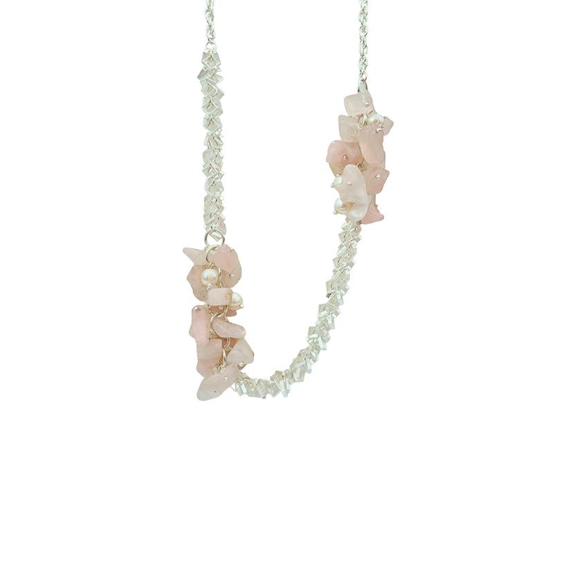 Colar pedra quartzo rosa leitoso banhado a prata