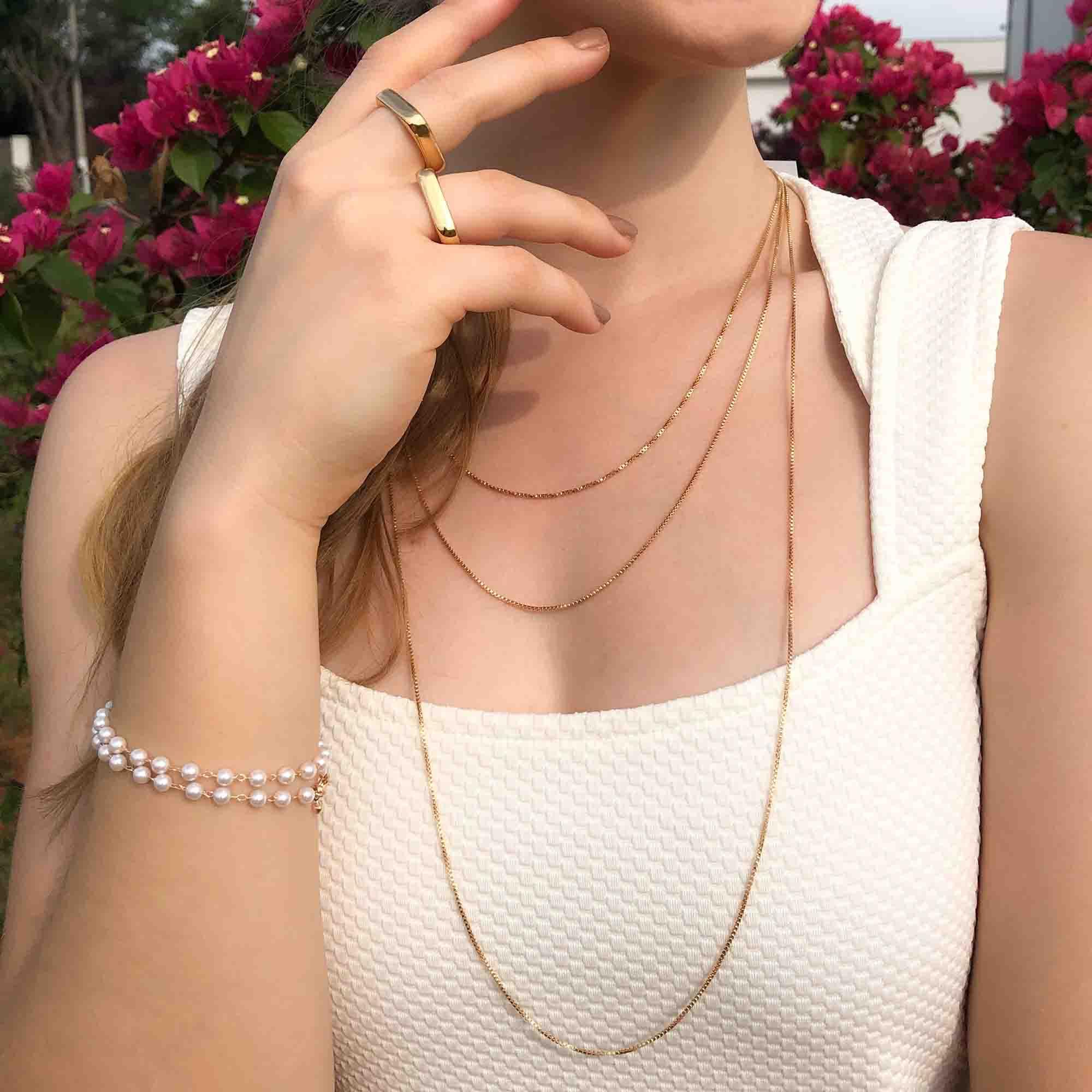 Colar Vogue  banhado a ouro 18k e ródio branco