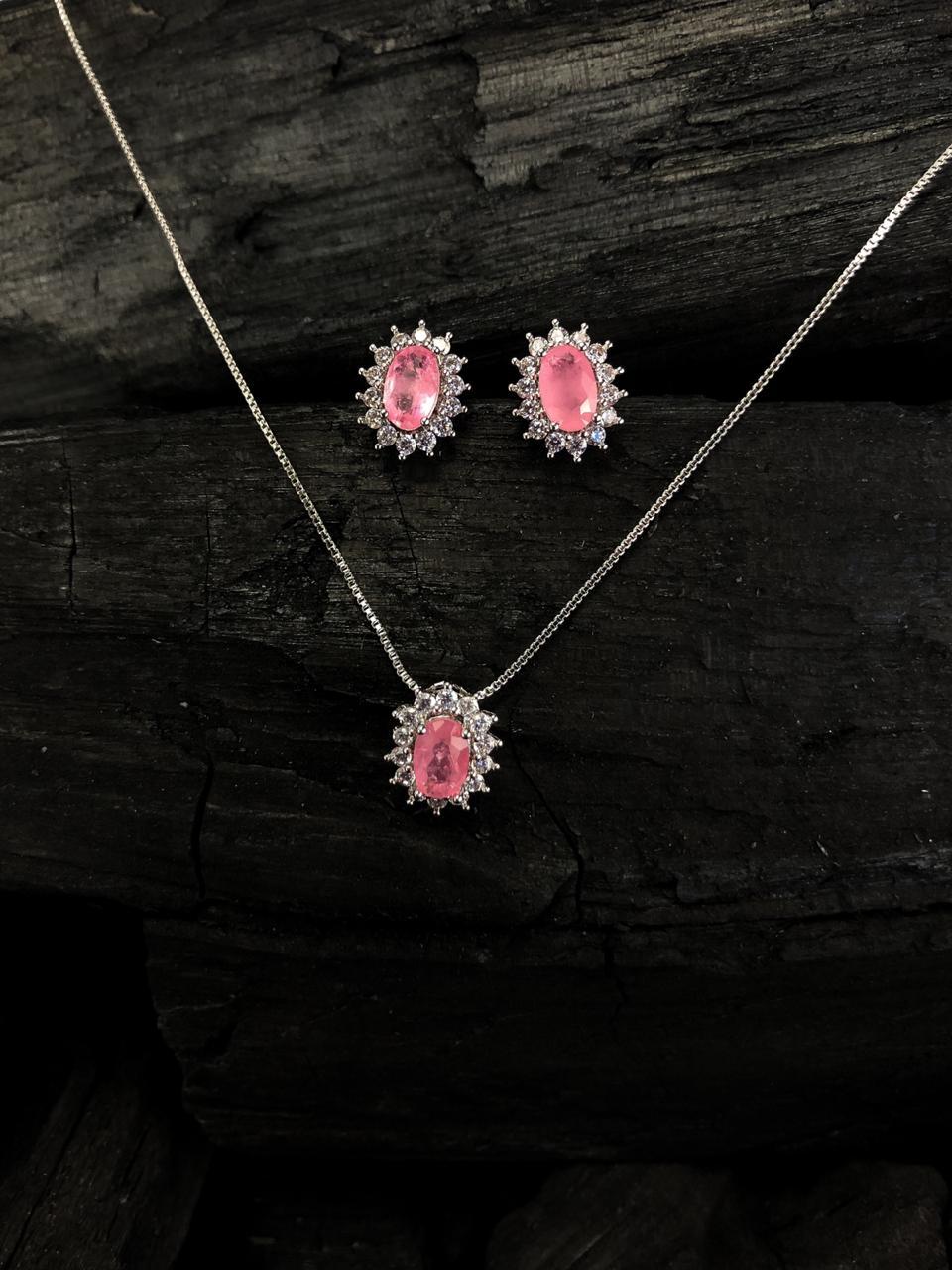 Conjunto colar e brinco princesa rosa fusion oval banhado a ouro 18k e ródio branco