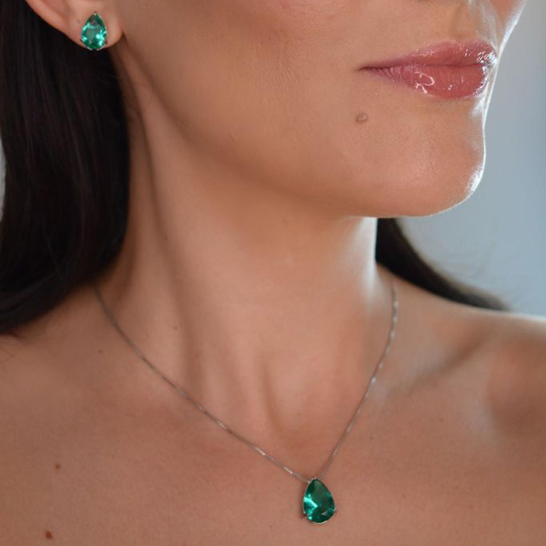 Conjunto gota verde turmalina Banho de Prata 1000