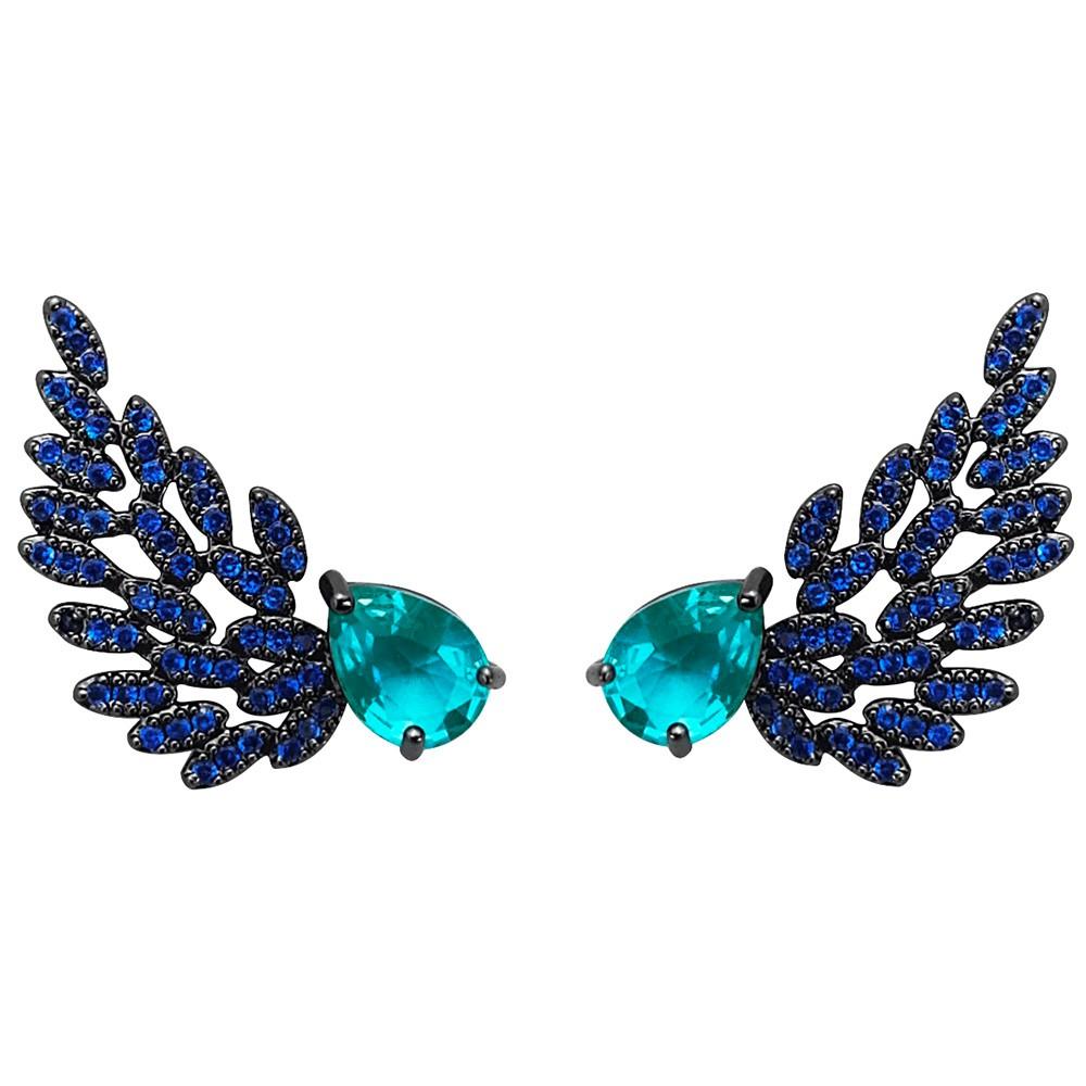 Ear cuff de asa azul safira banhado a ouro 18k e ródio negro