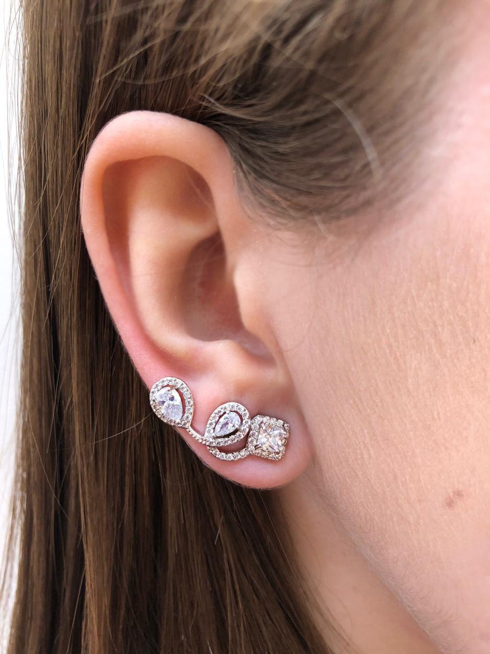 Ear cuff ponto de luz banhado a ouro 18k e ródio branco