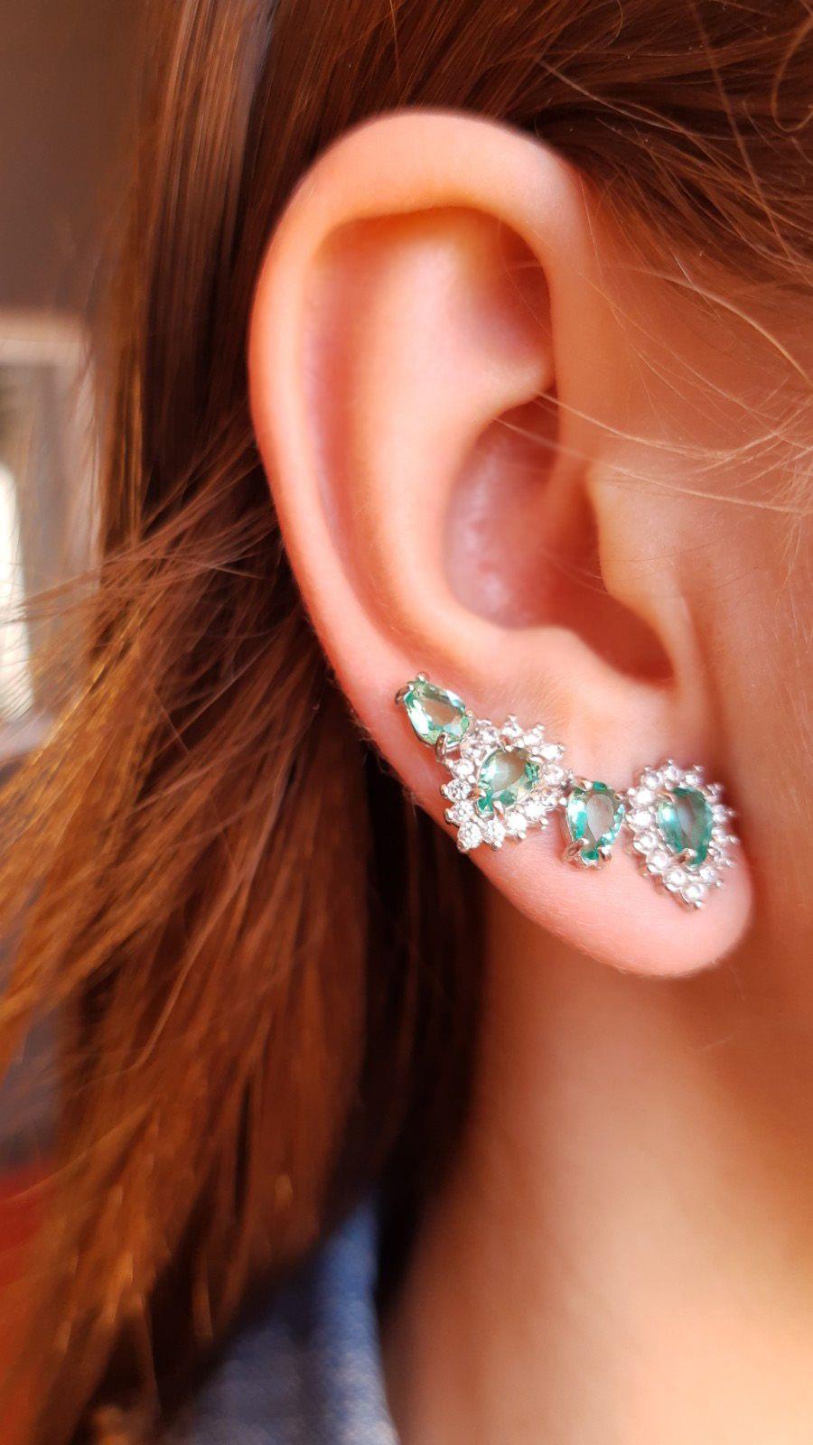 Ear cuff verde turmalina quatro gotas banhado ouro 18k e ródio branco