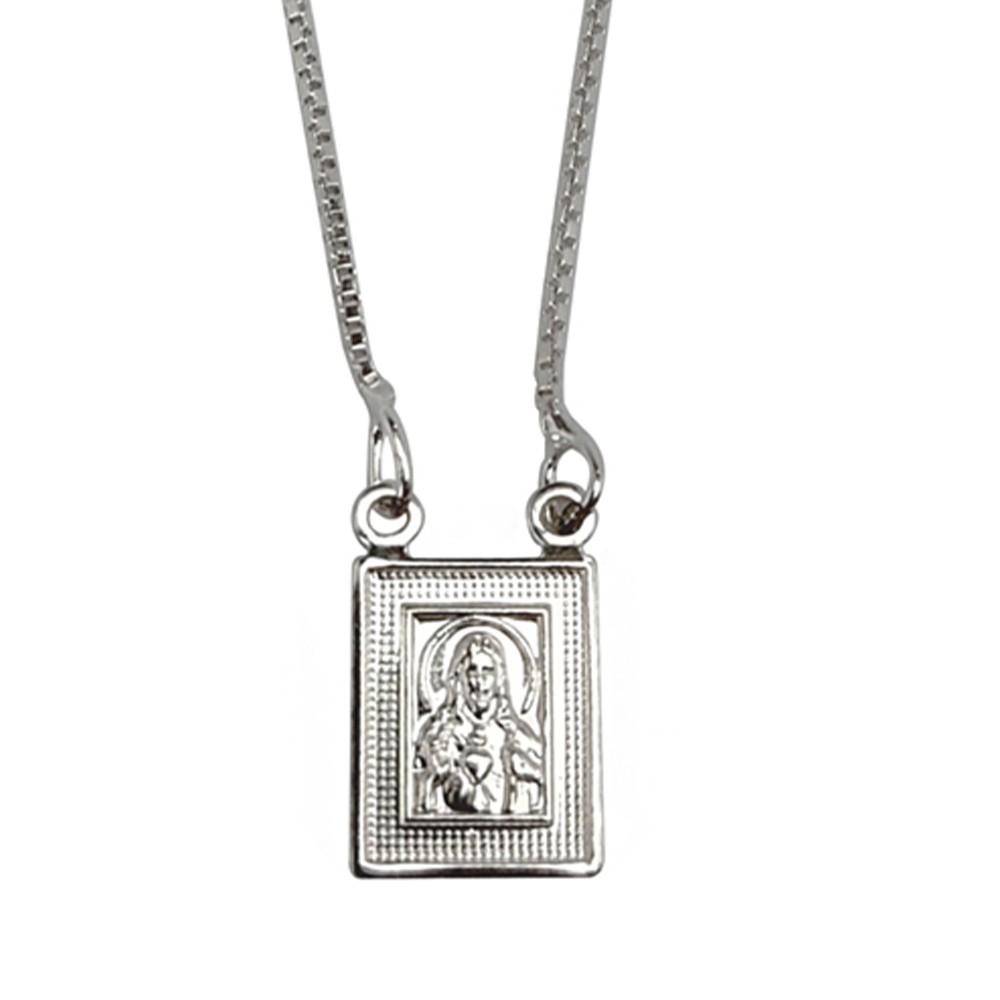 Escapulário de prata 925 sagrado coração de jesus e nossa sra. do carmo