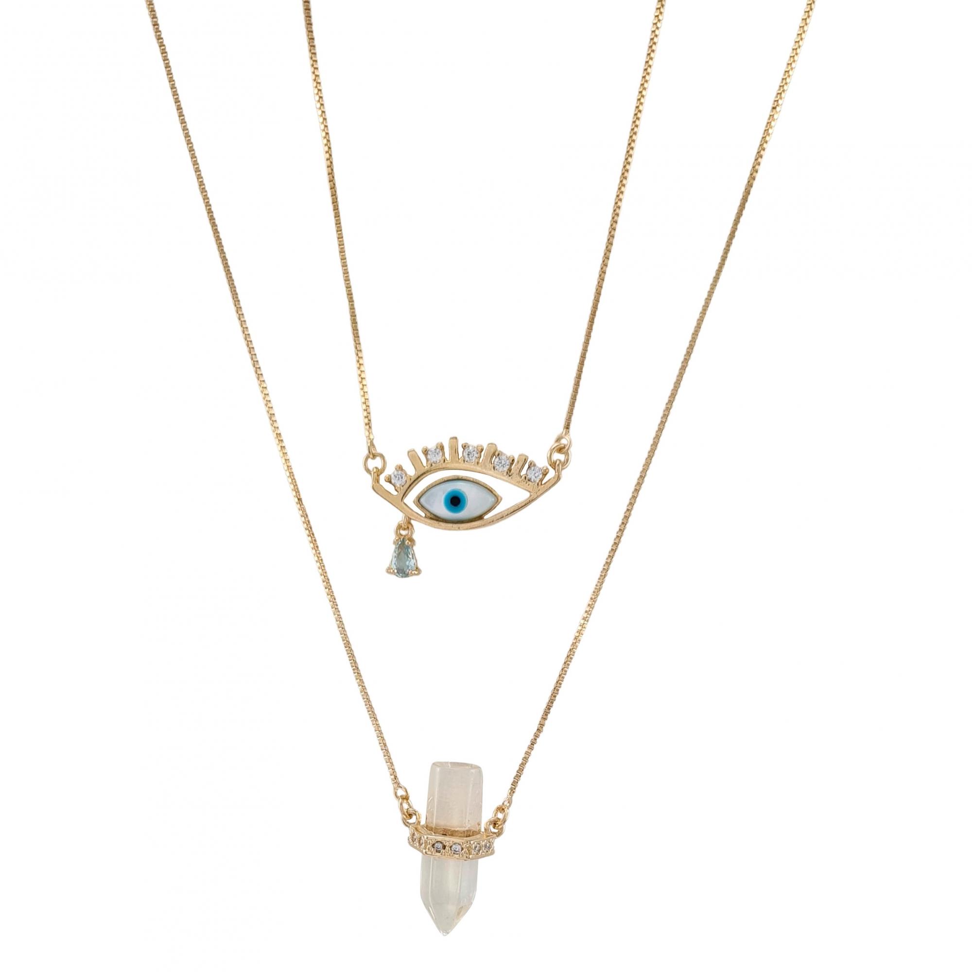 Escapulário olho grego  banhado a ouro 18k e ródio branco