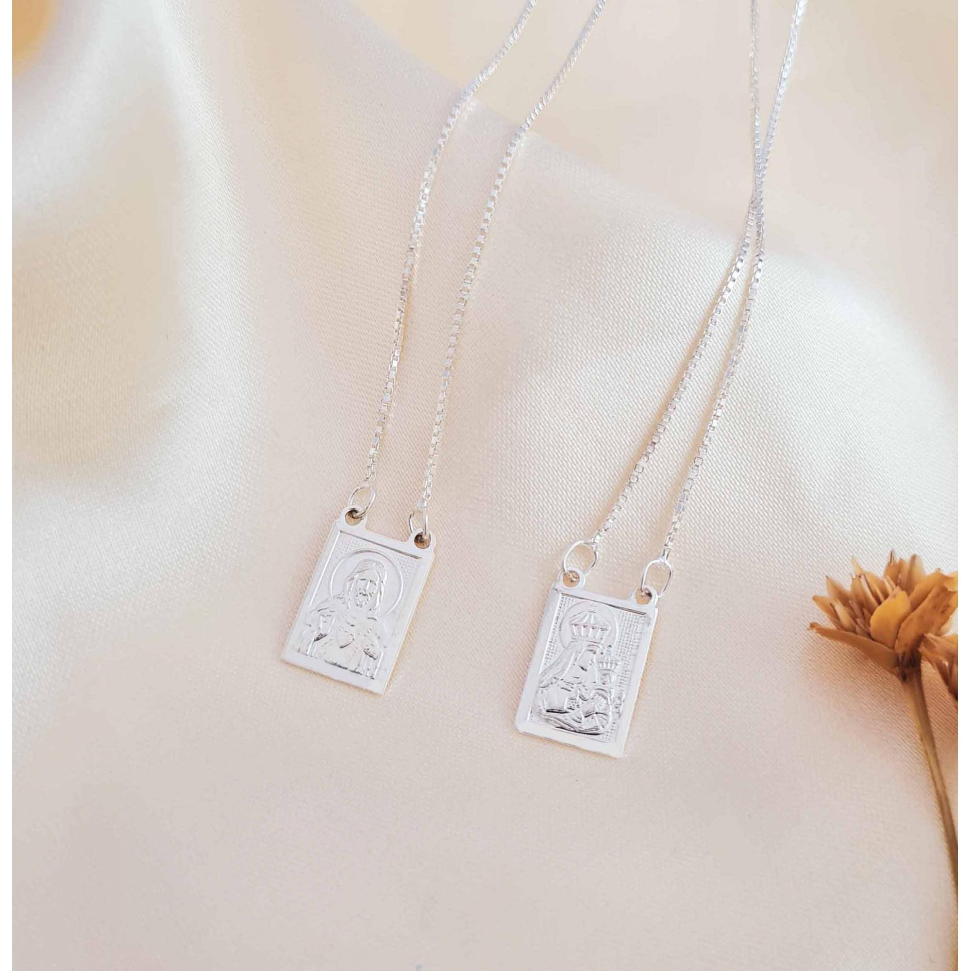 Escapulário Sagrado coração de Jesus prata 925