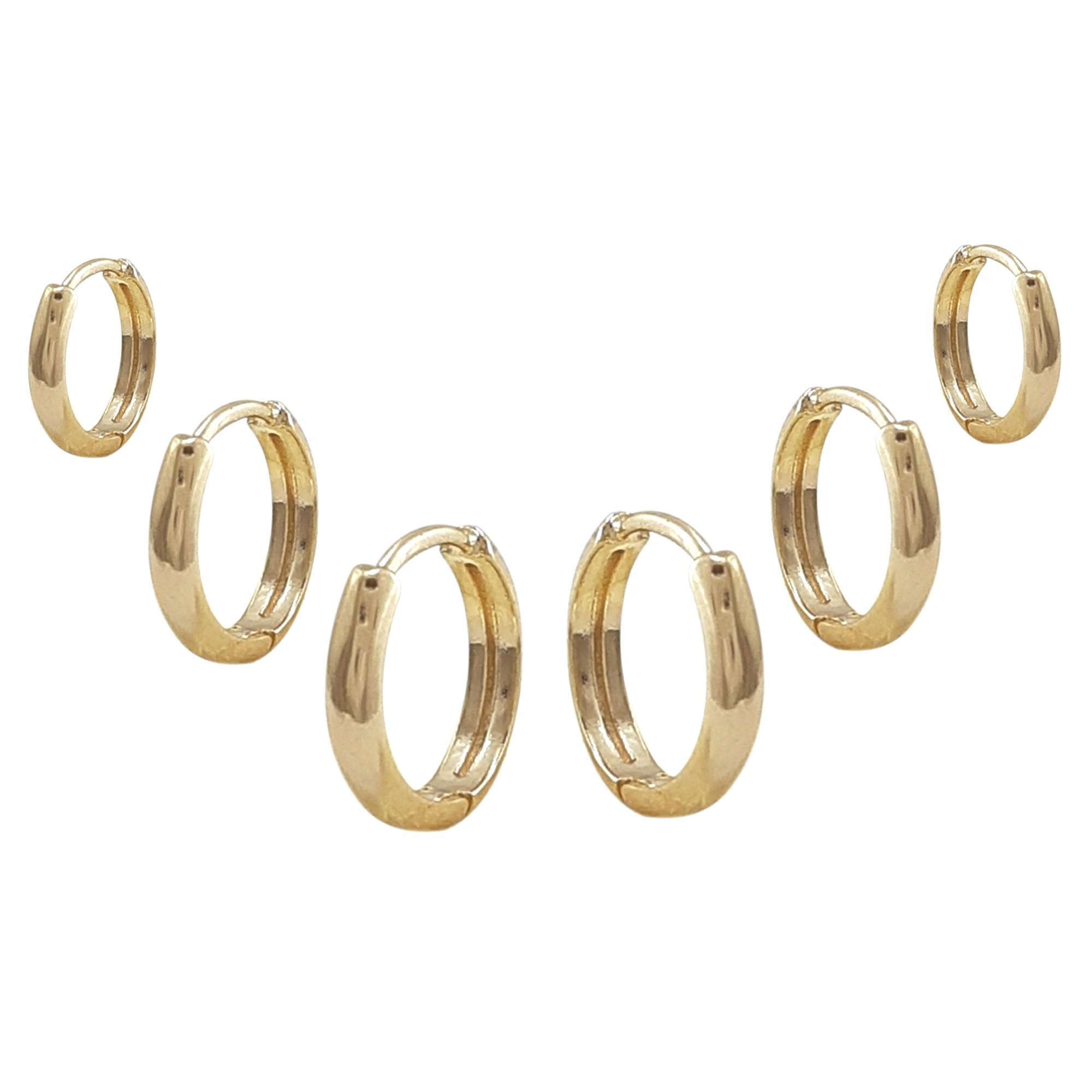 Kit brincos argolinhas lisas banho a ouro 18k e ródio branco