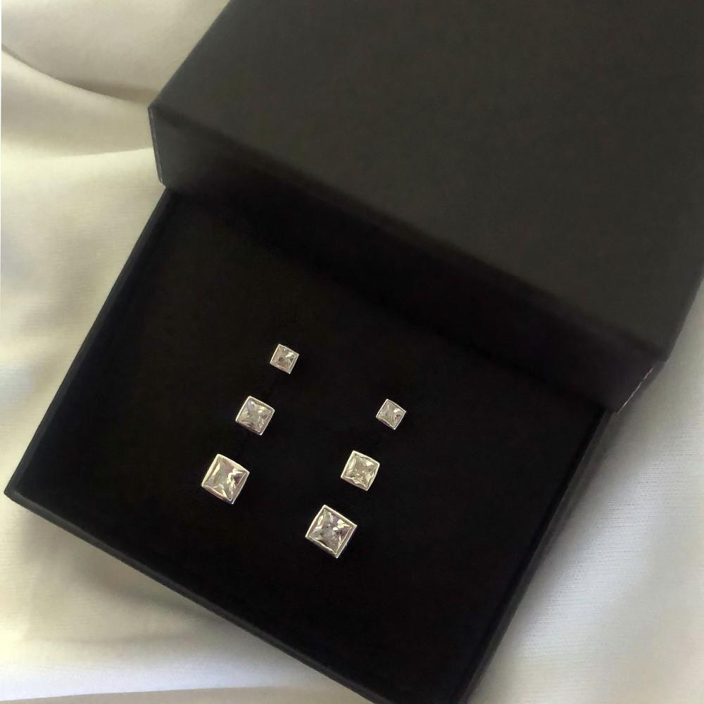 Kit de brincos quadrado com zircônia prata 925