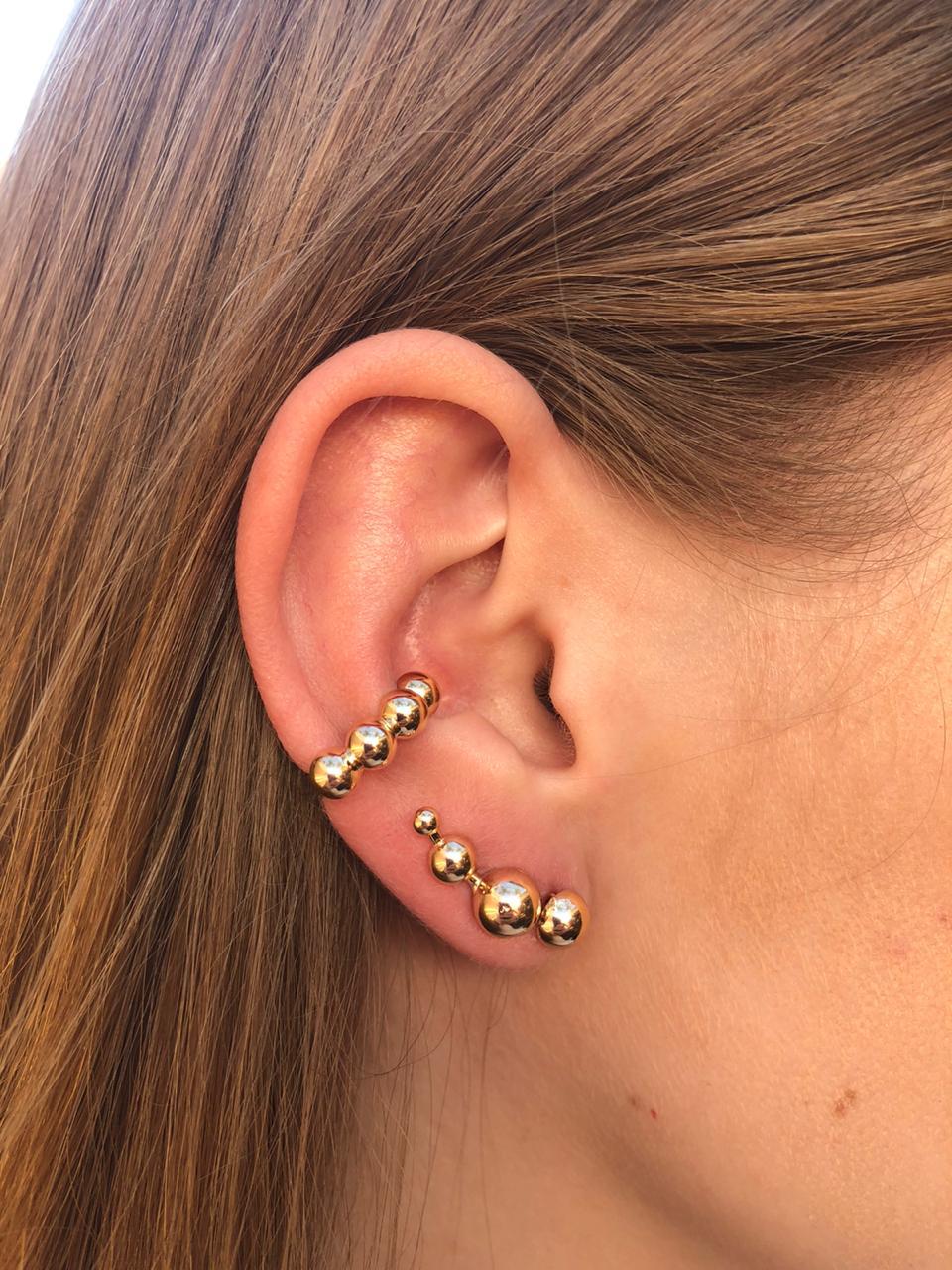 Piercing fake de orelha 4 esferas banhado a ouro 18k