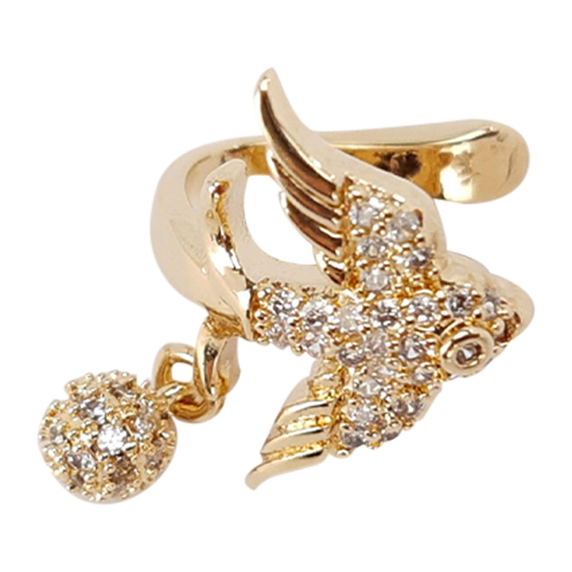 Piercing pássaro cravejado a ouro 18k