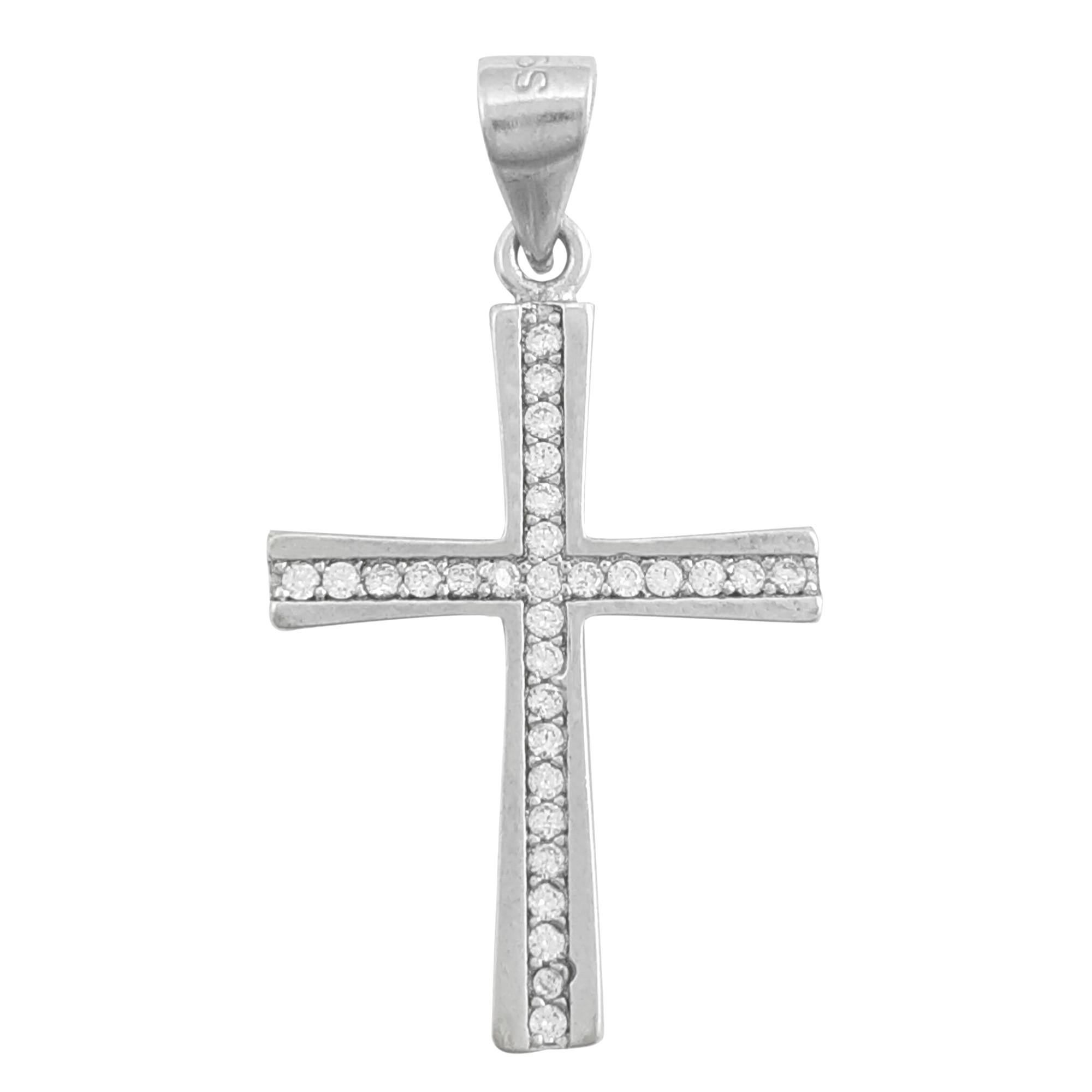 Pingente de cruz cravejada em Prata 925 e ródio branco