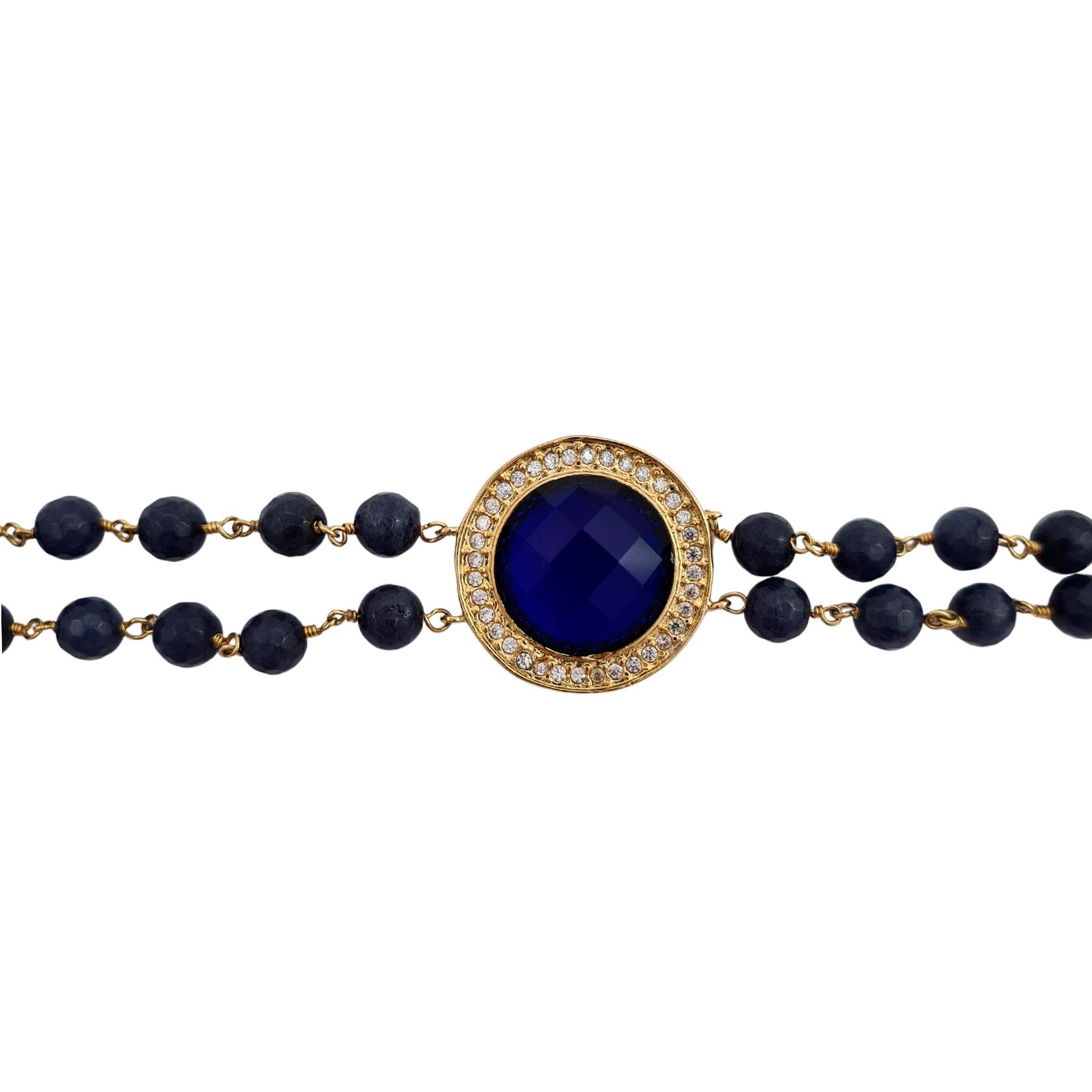 Pulseira de cristal azul com pedra sodalita e micro zircônia banhado a ouro 18k