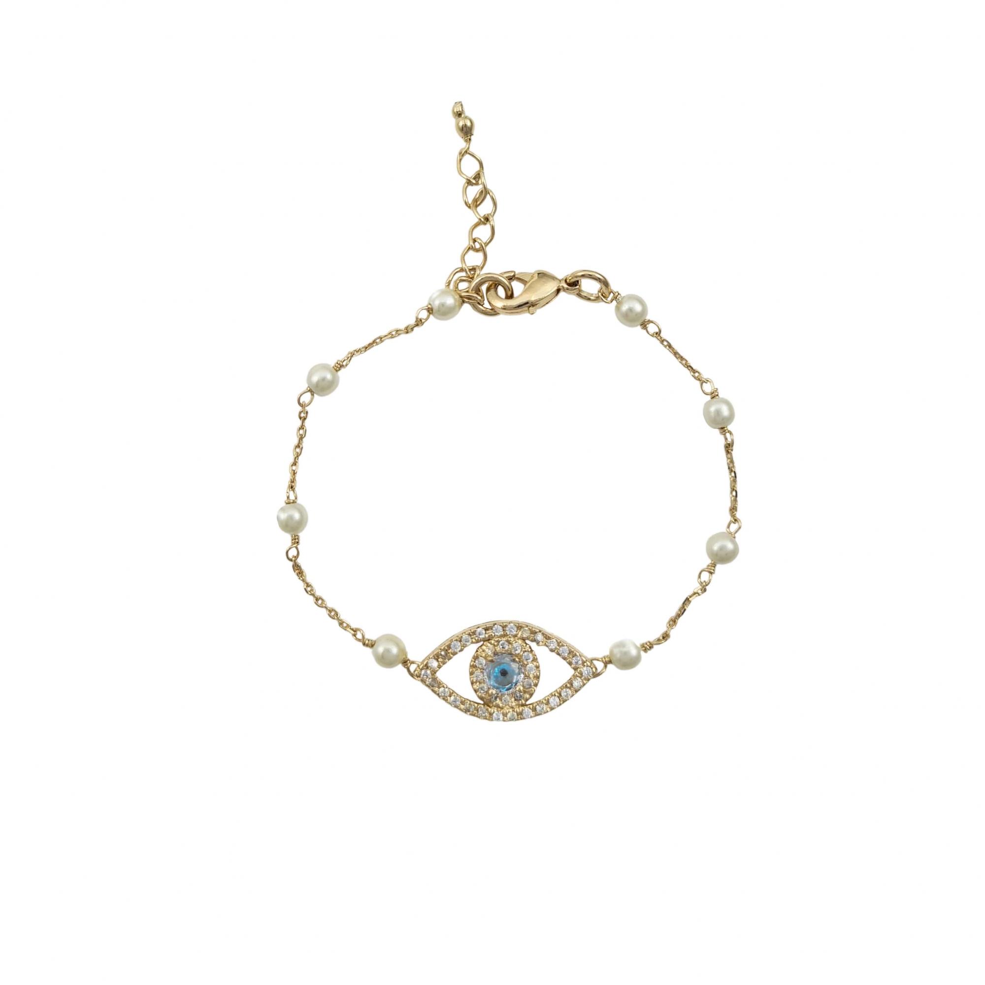 Pulseira olho grego com pérola banhado a ouro 18k