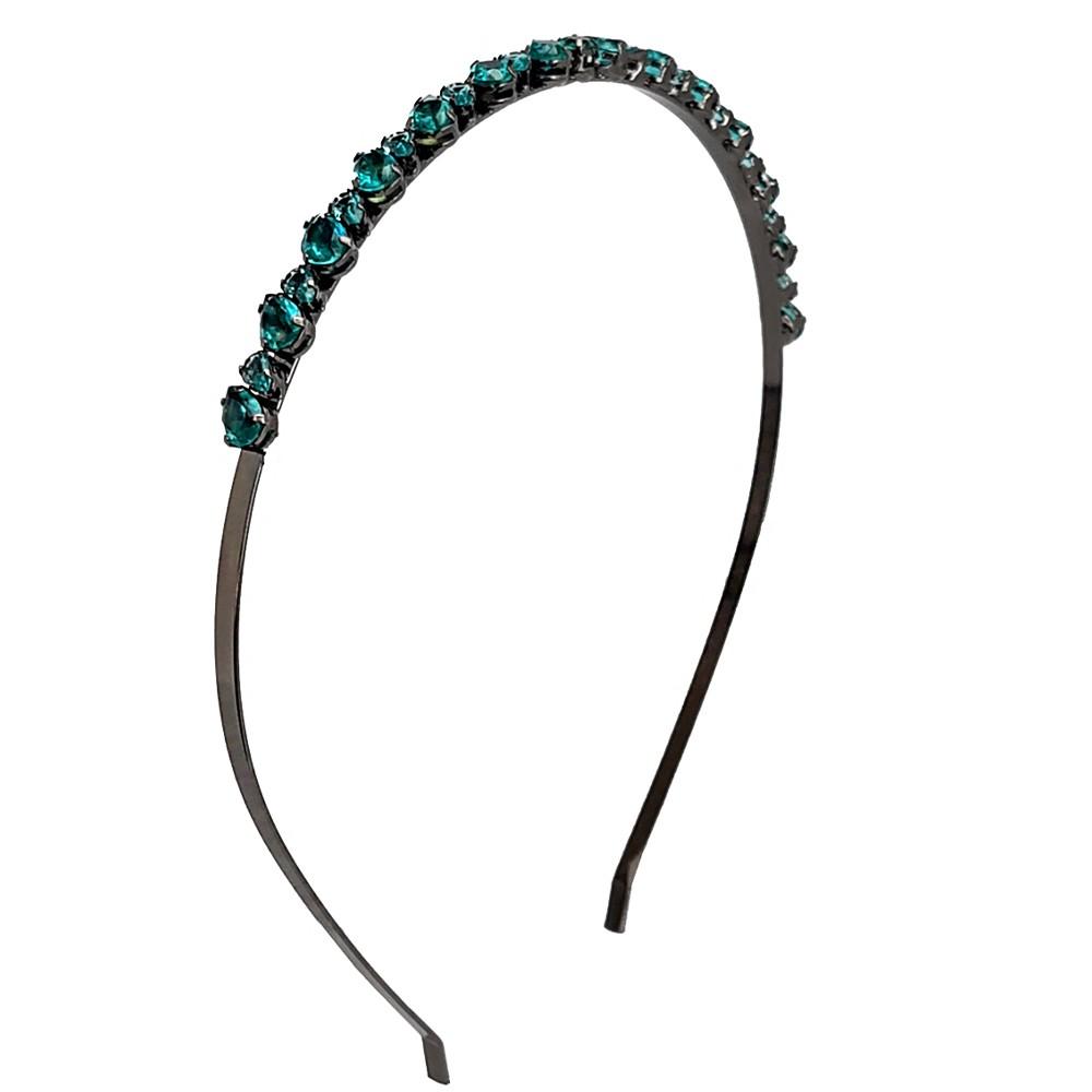 Tiara com cristal verde banhado a ouro 18k e ródio negro