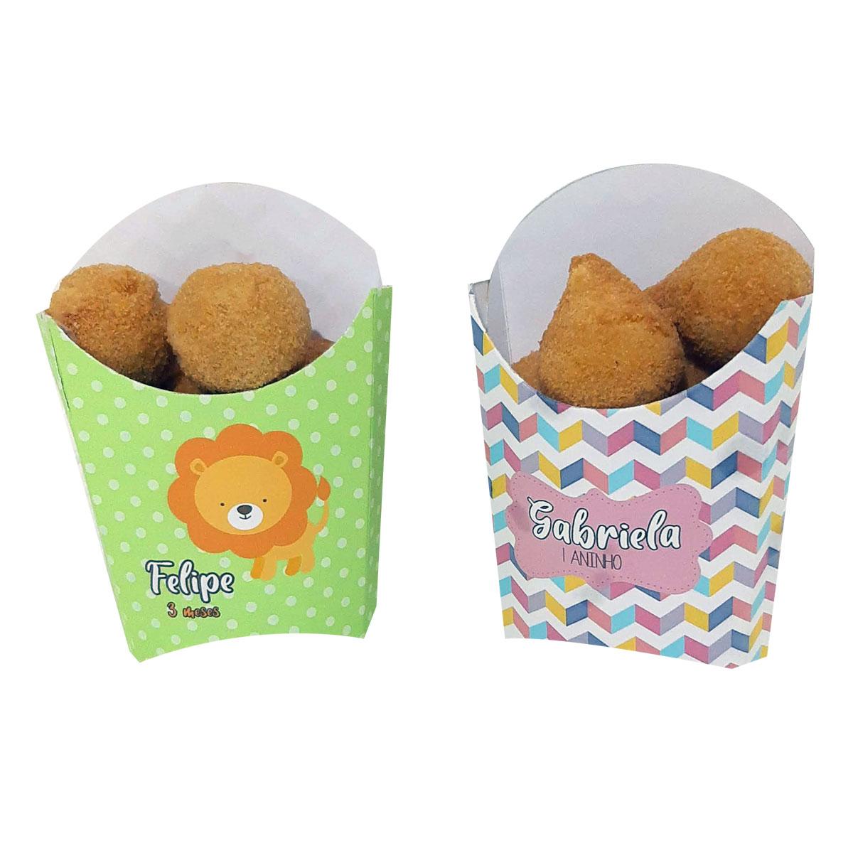 10x Caixa Batata Frita Personalizada  - Pacote com 10 unidades