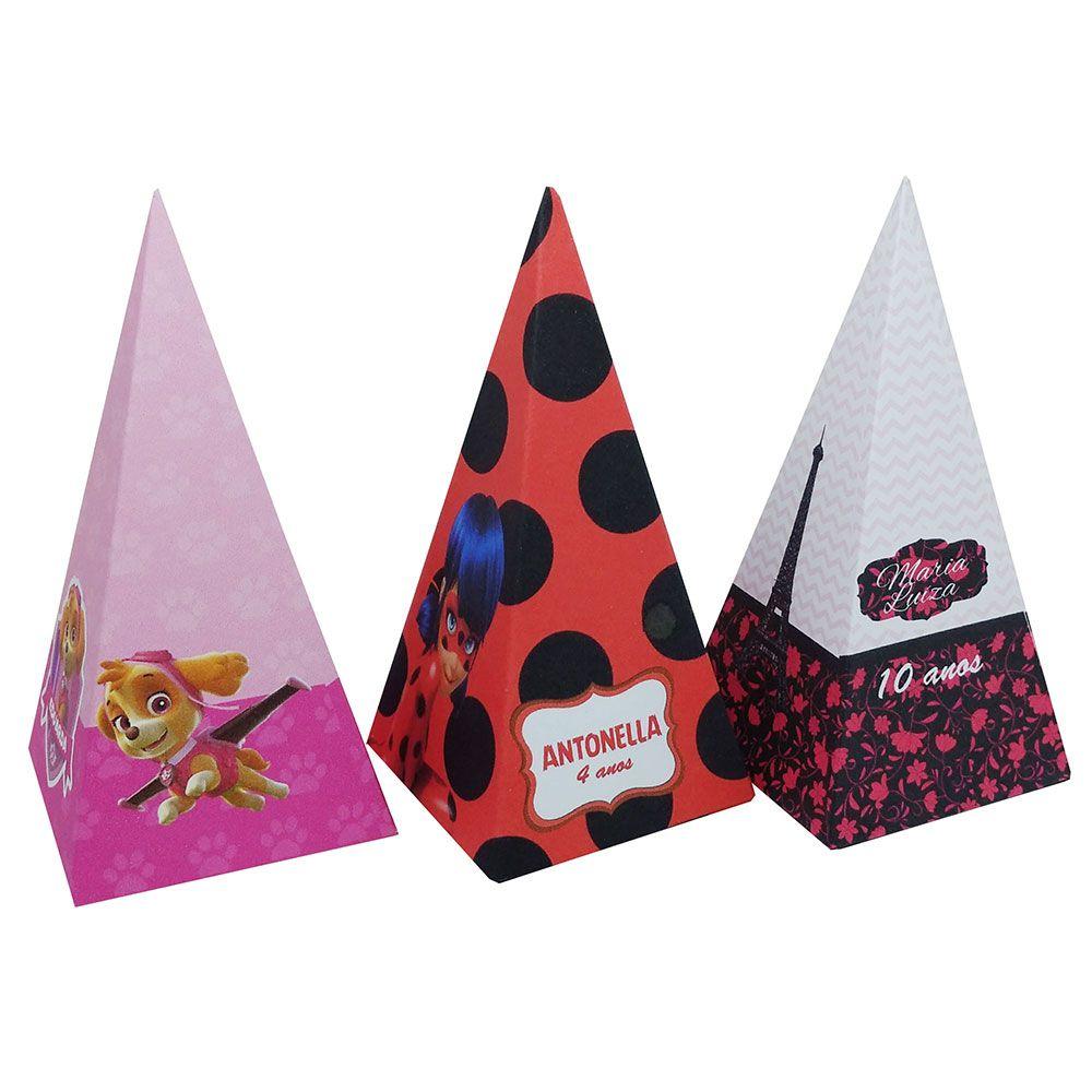 10x Caixa Piramide Personalizada - Pacote com 10 unidades